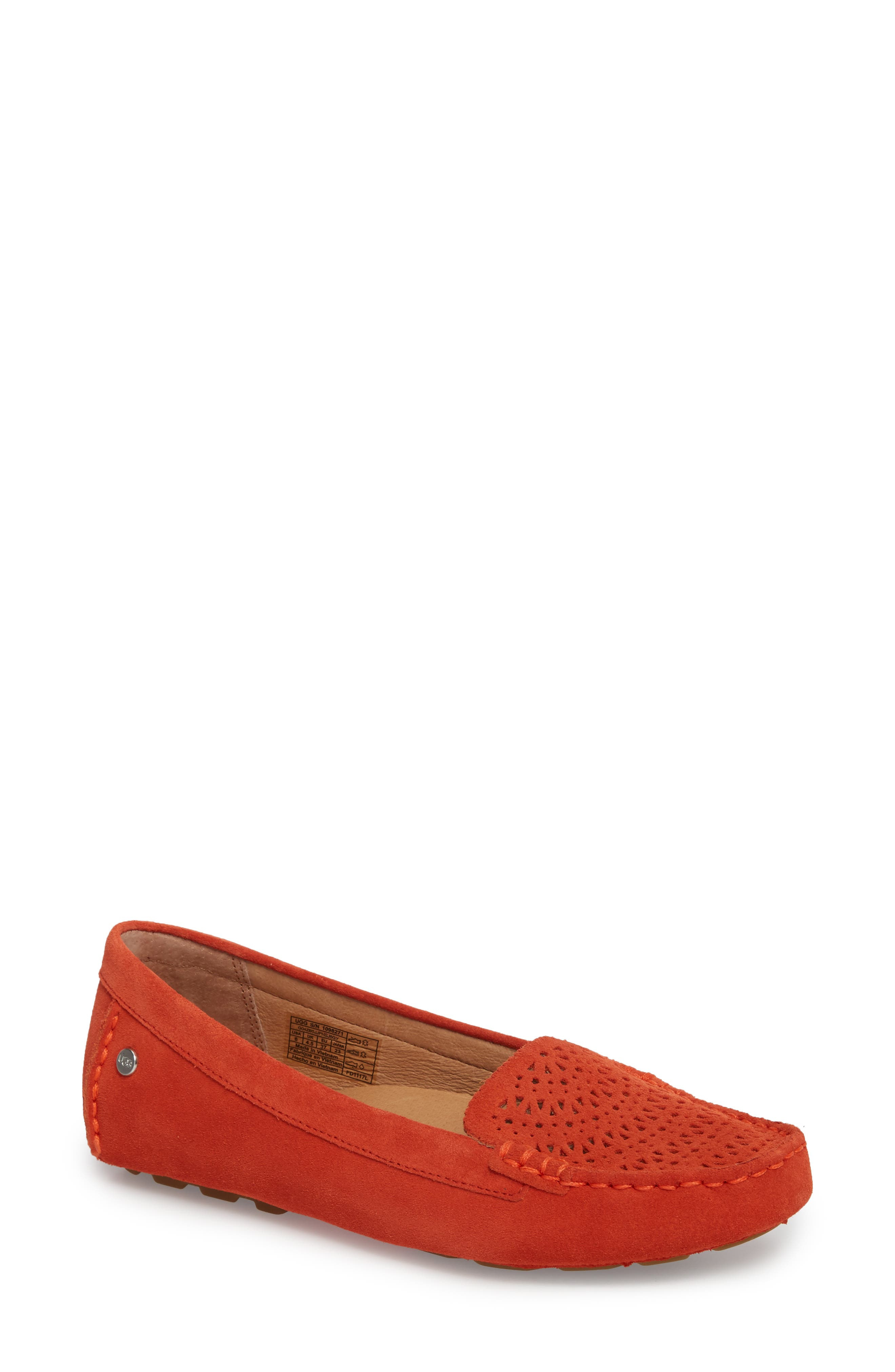 Clair Flat,                             Main thumbnail 1, color,                             Red Orange Suede