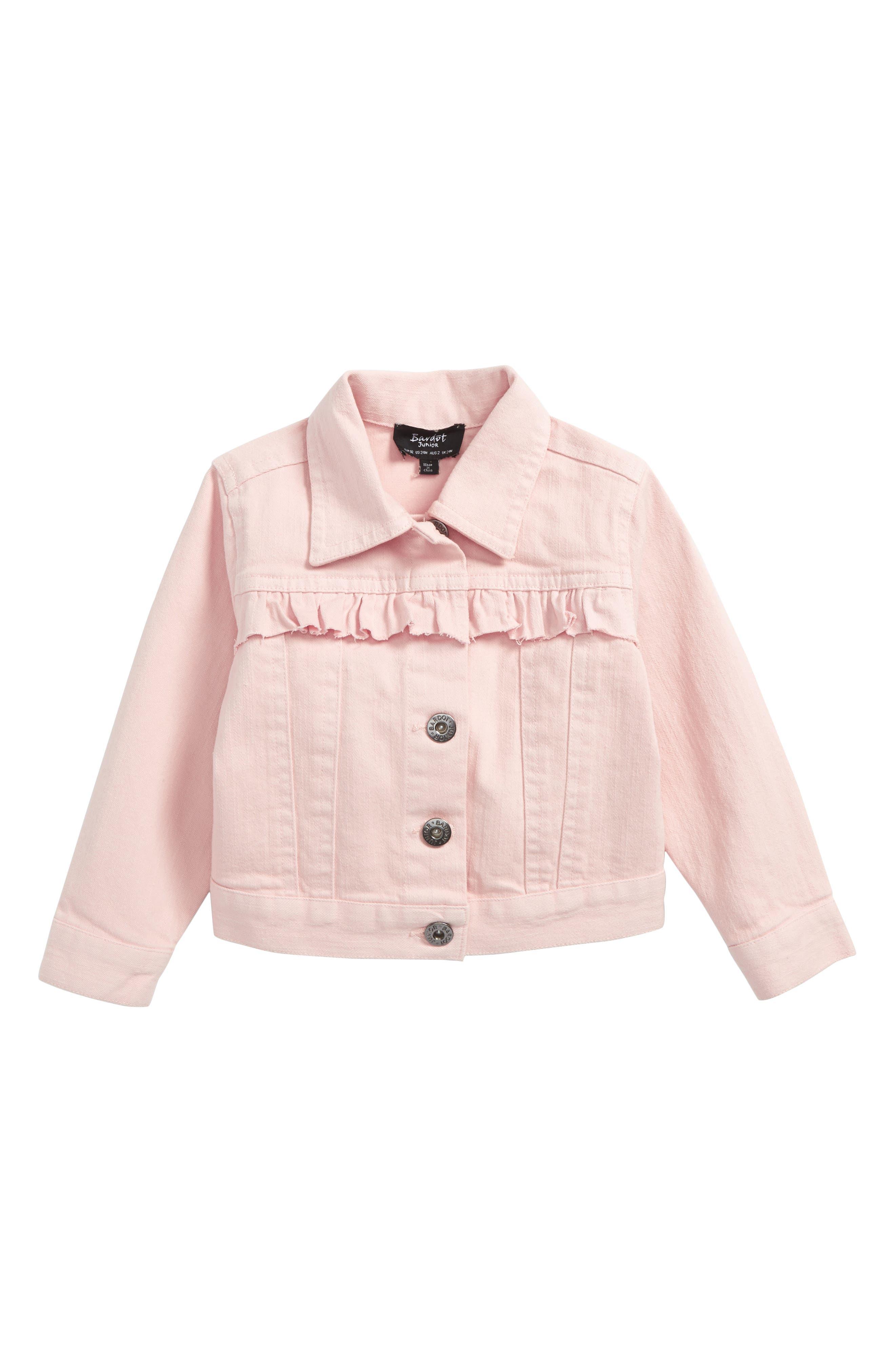 Ruffle Denim Jacket,                             Main thumbnail 1, color,                             Peach Whip