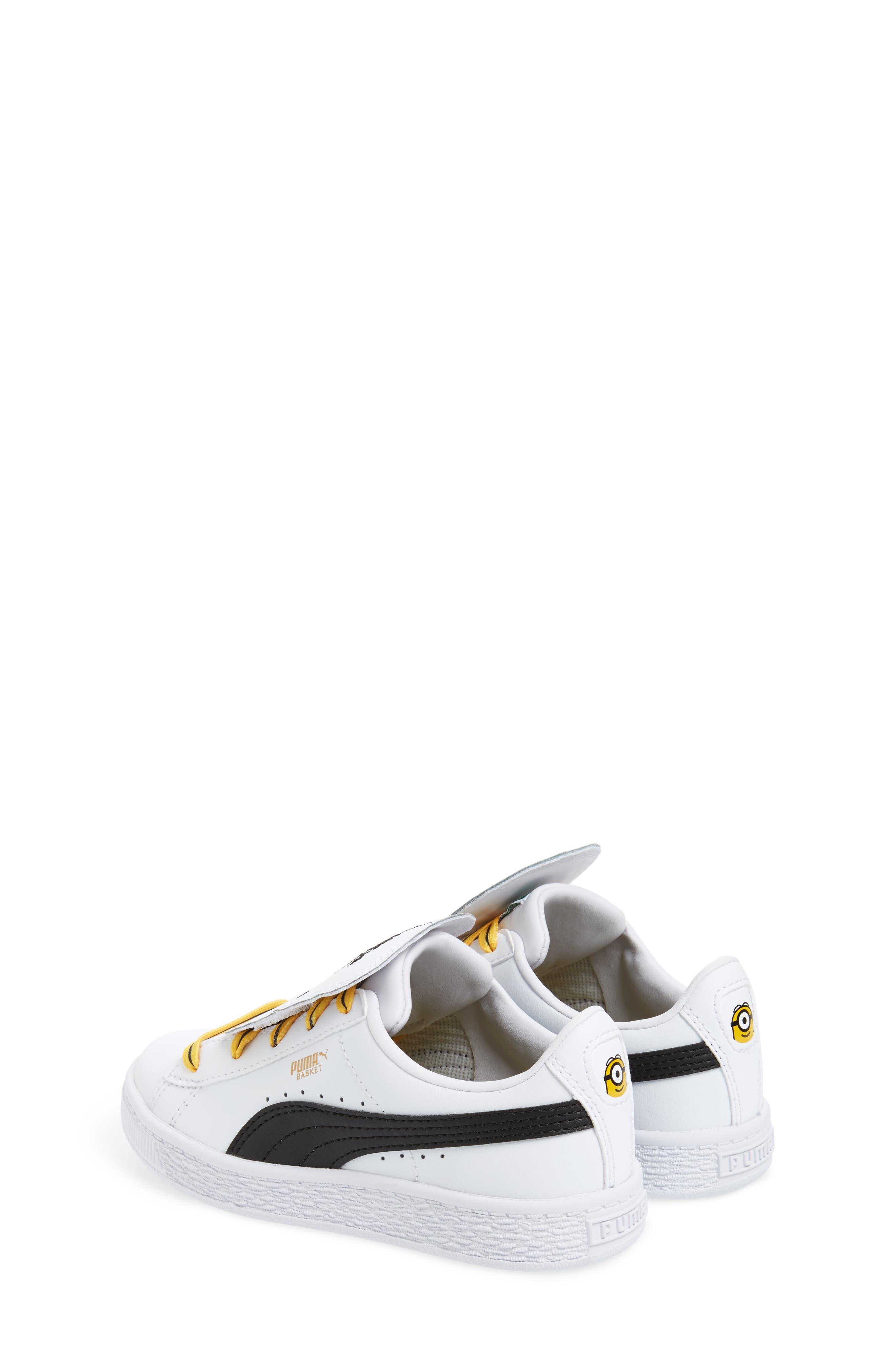 x Minions Basket Embroidered Tongue Sneaker,                             Alternate thumbnail 2, color,                             White/ Black/ Minion Yellow