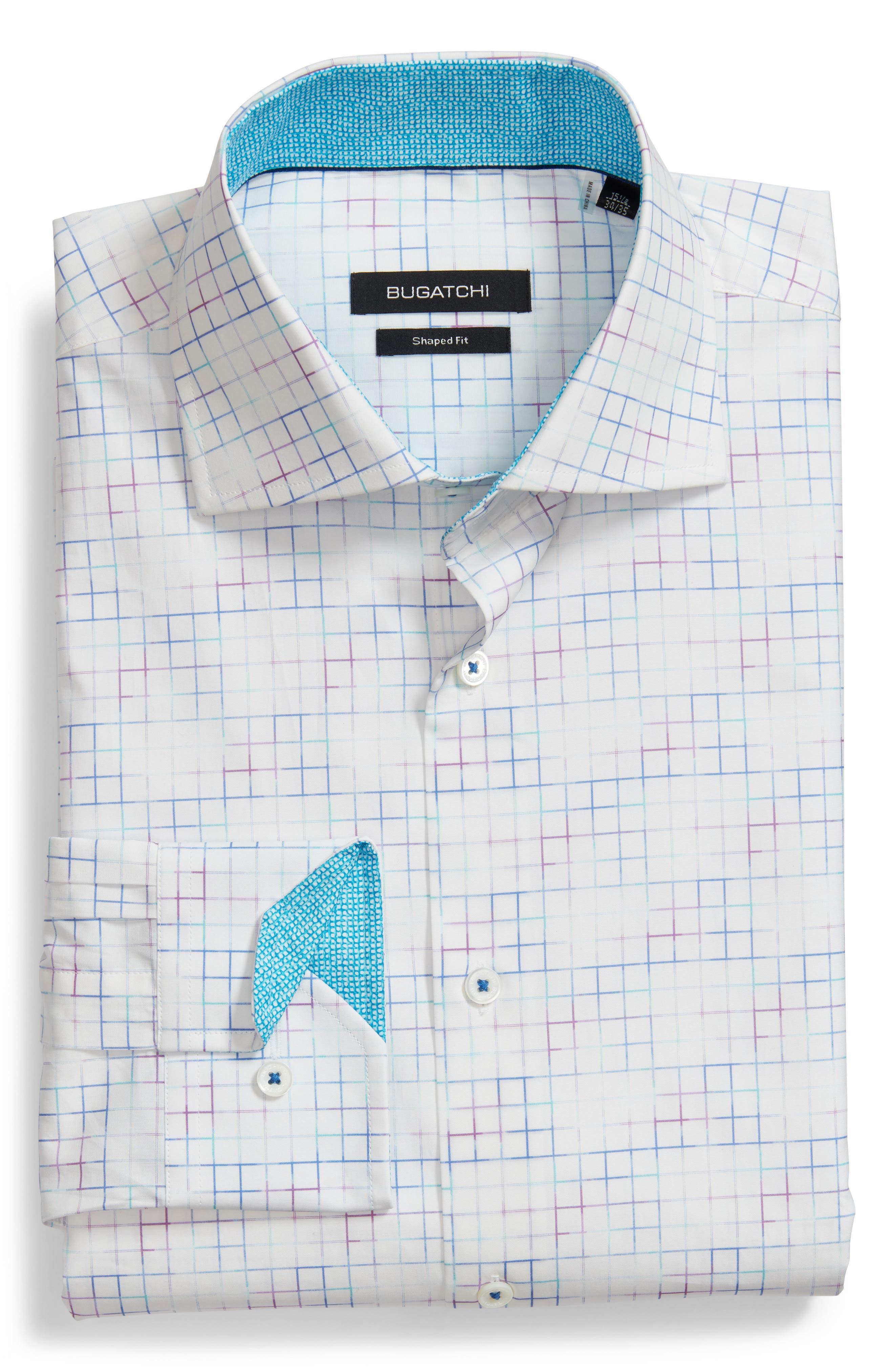 Trim Fit Check Dress Shirt,                         Main,                         color, White