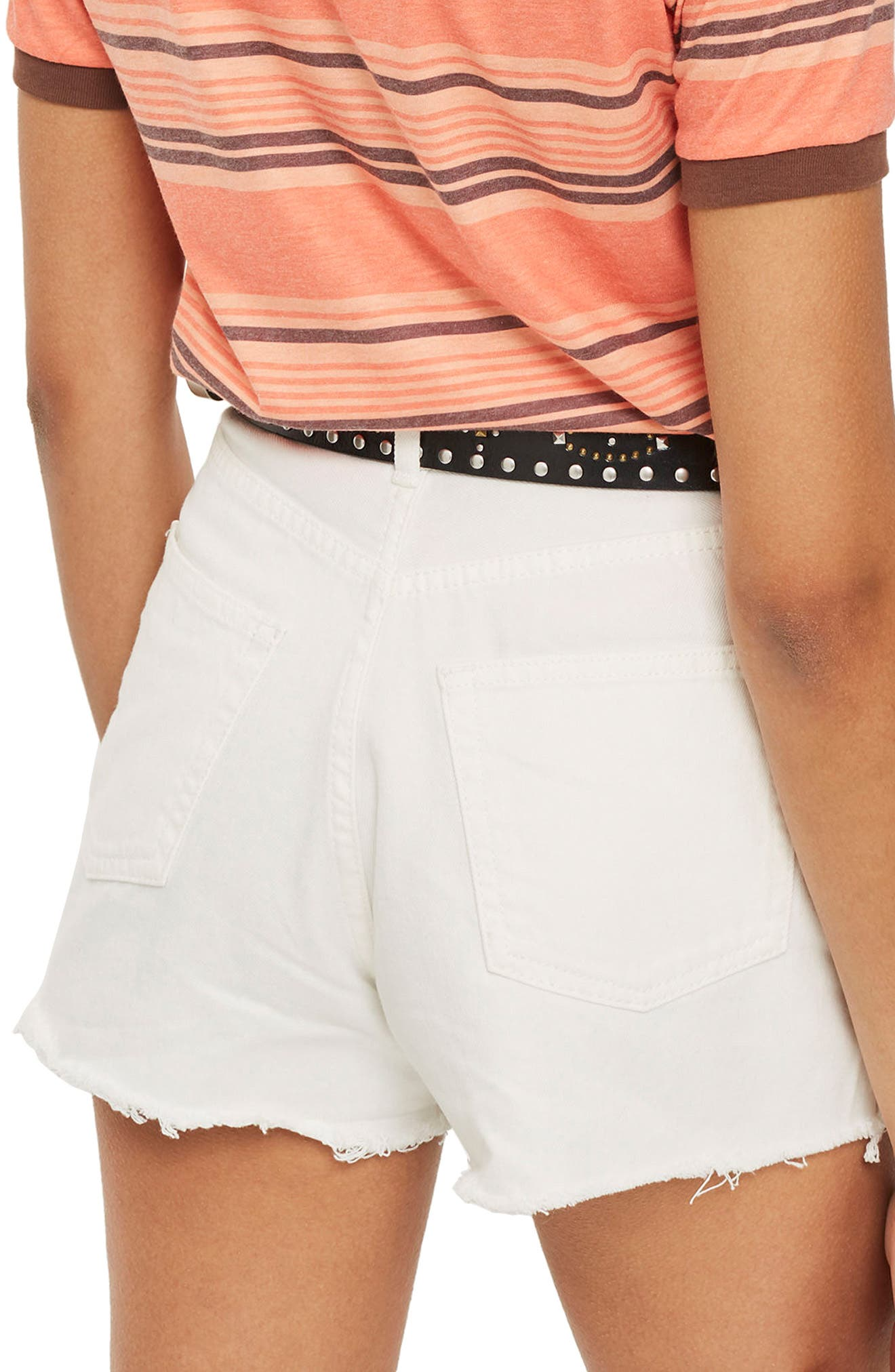 Cutoff Denim Mom Shorts,                             Alternate thumbnail 2, color,                             White