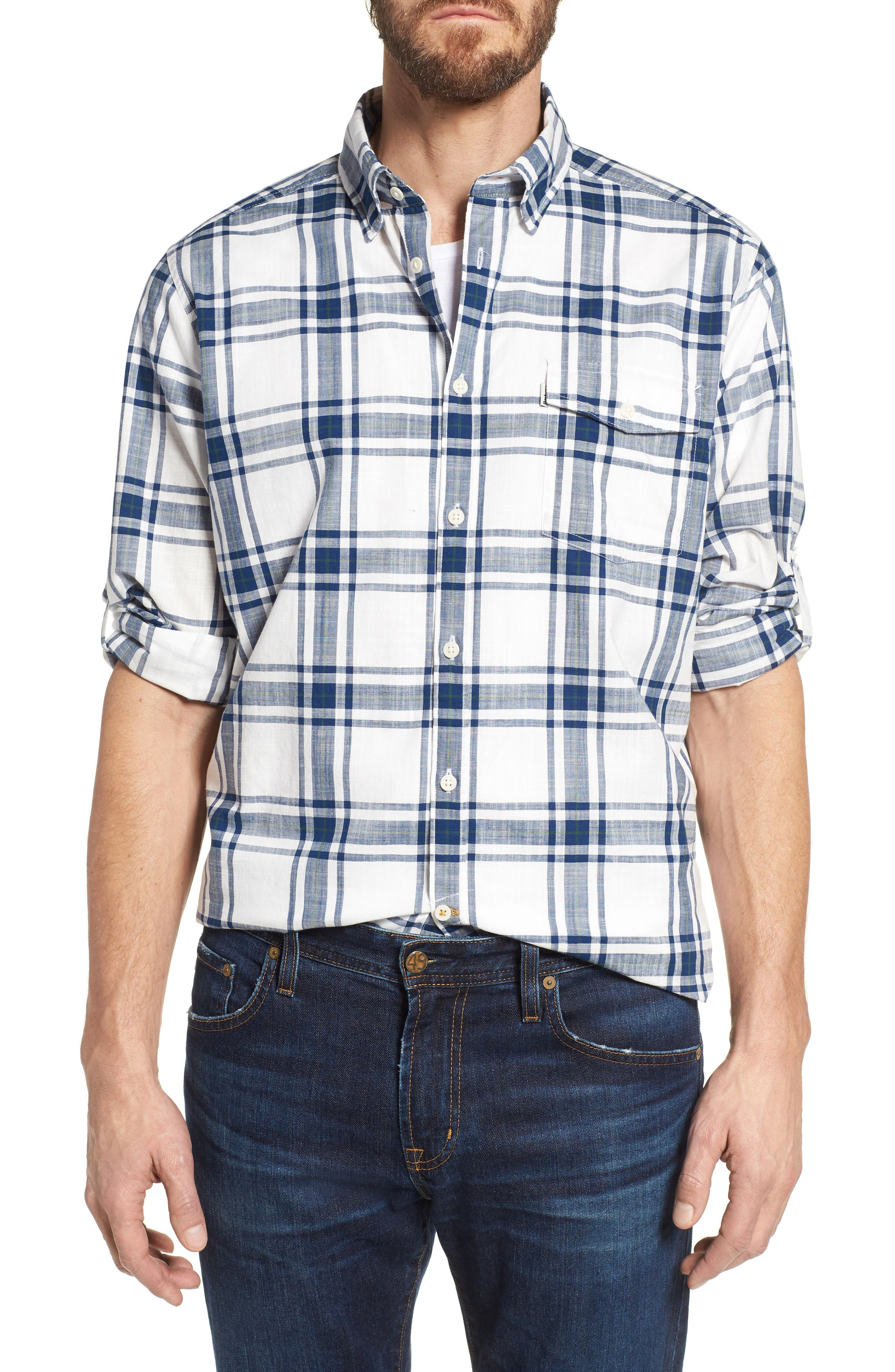 Elver Tailored Fit Plaid Sport Shirt,                         Main,                         color, Willow Green