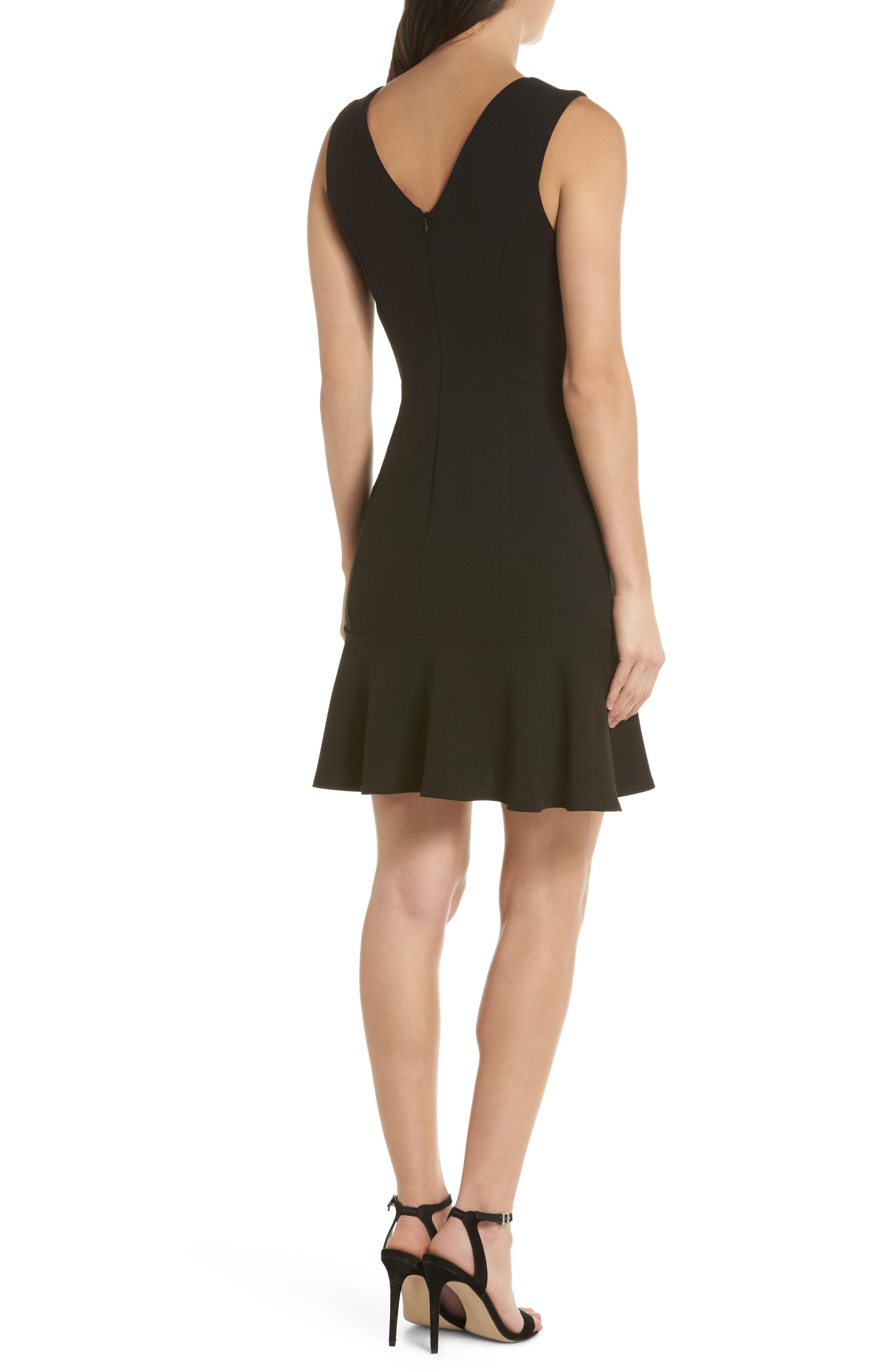 V-Neck Ruffle Hem Sheath Dress,                             Alternate thumbnail 2, color,                             Black