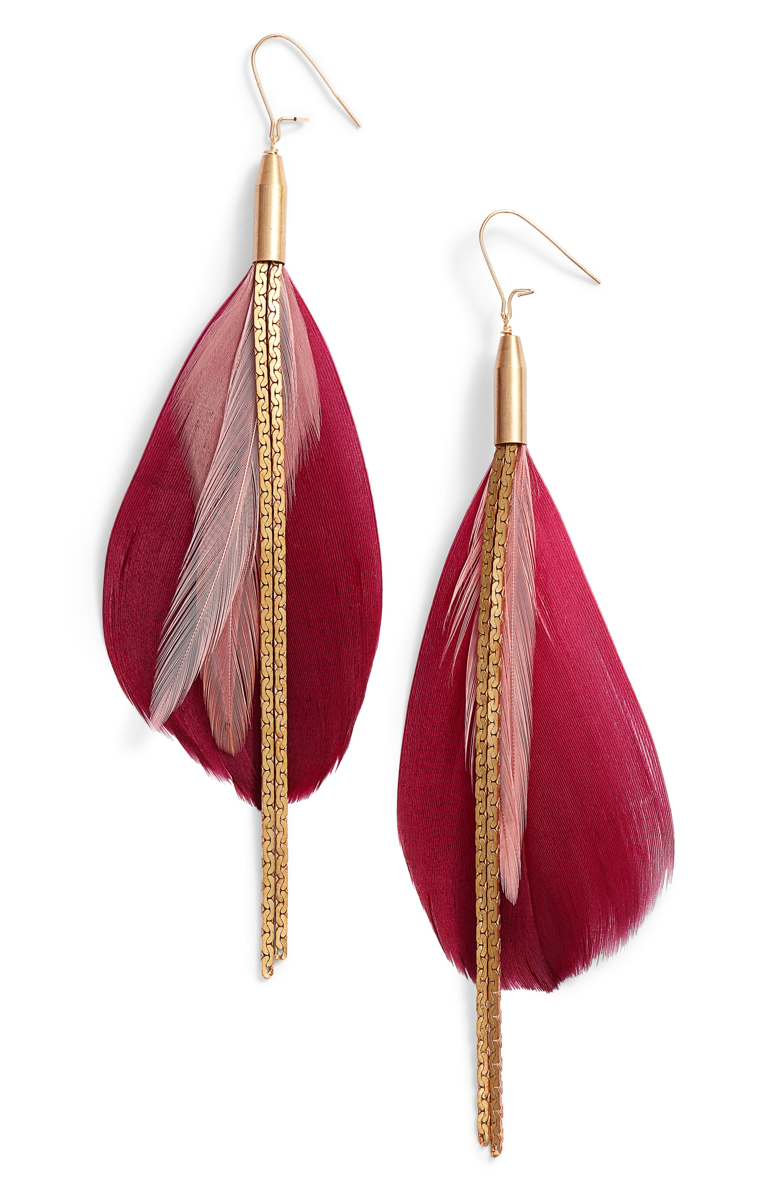 Vintage Feather Drop Earrings,                             Main thumbnail 1, color,                             Gold/ Red