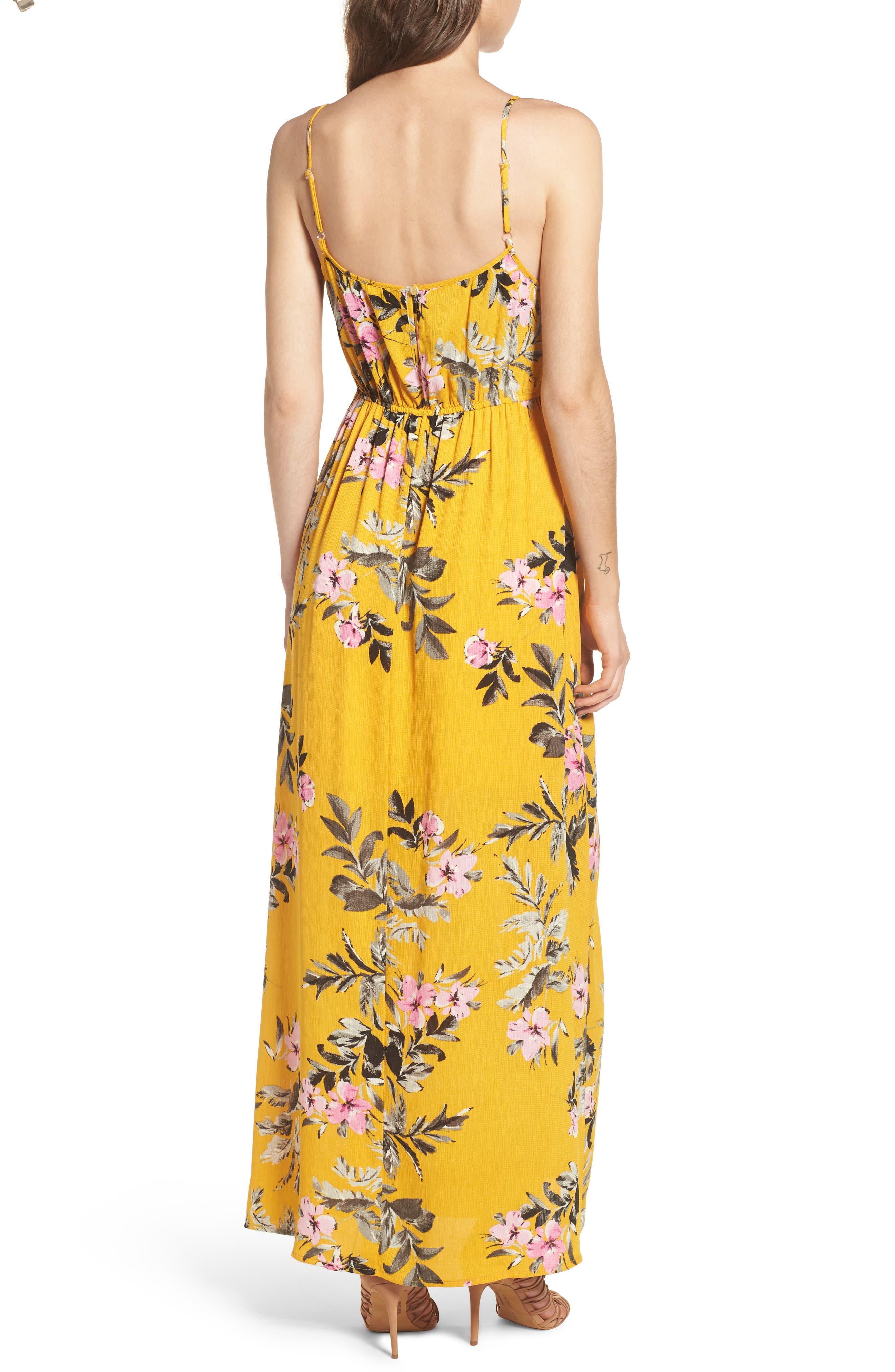 Tie Front Maxi Dress,                             Alternate thumbnail 2, color,                             Marigold