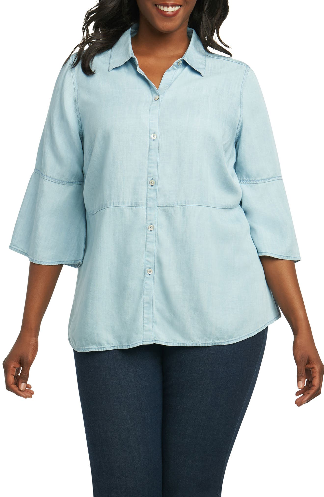Foxcroft Estelle Chambray Shirt (Plus Size)