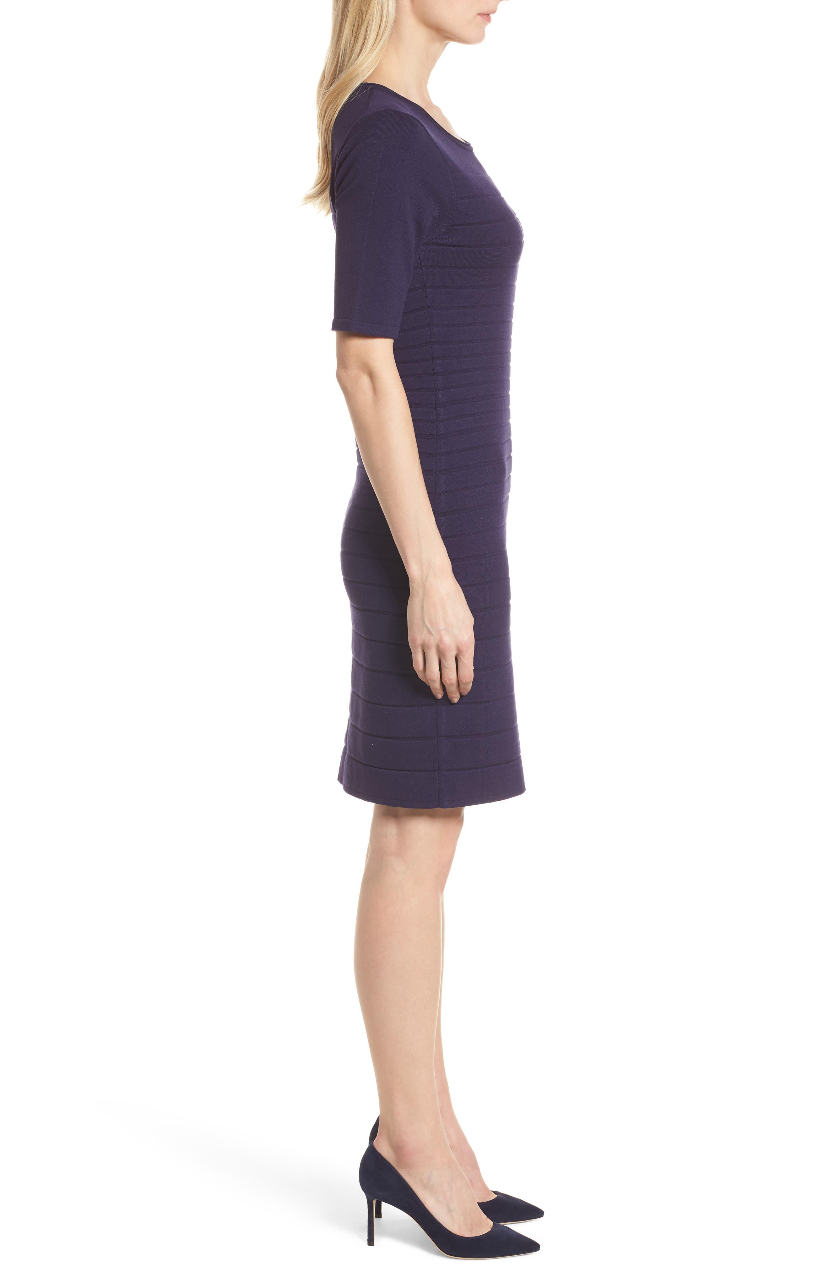 Textured Stripe Knit Dress,                             Alternate thumbnail 3, color,                             Monaco