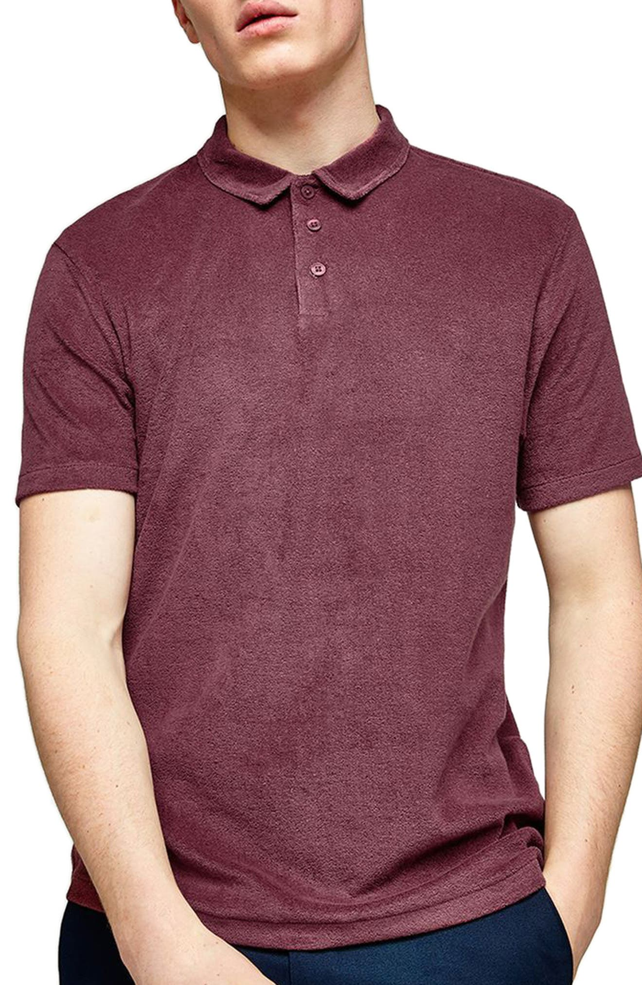 Slim Fit Washed Toweling Polo,                         Main,                         color, Purple