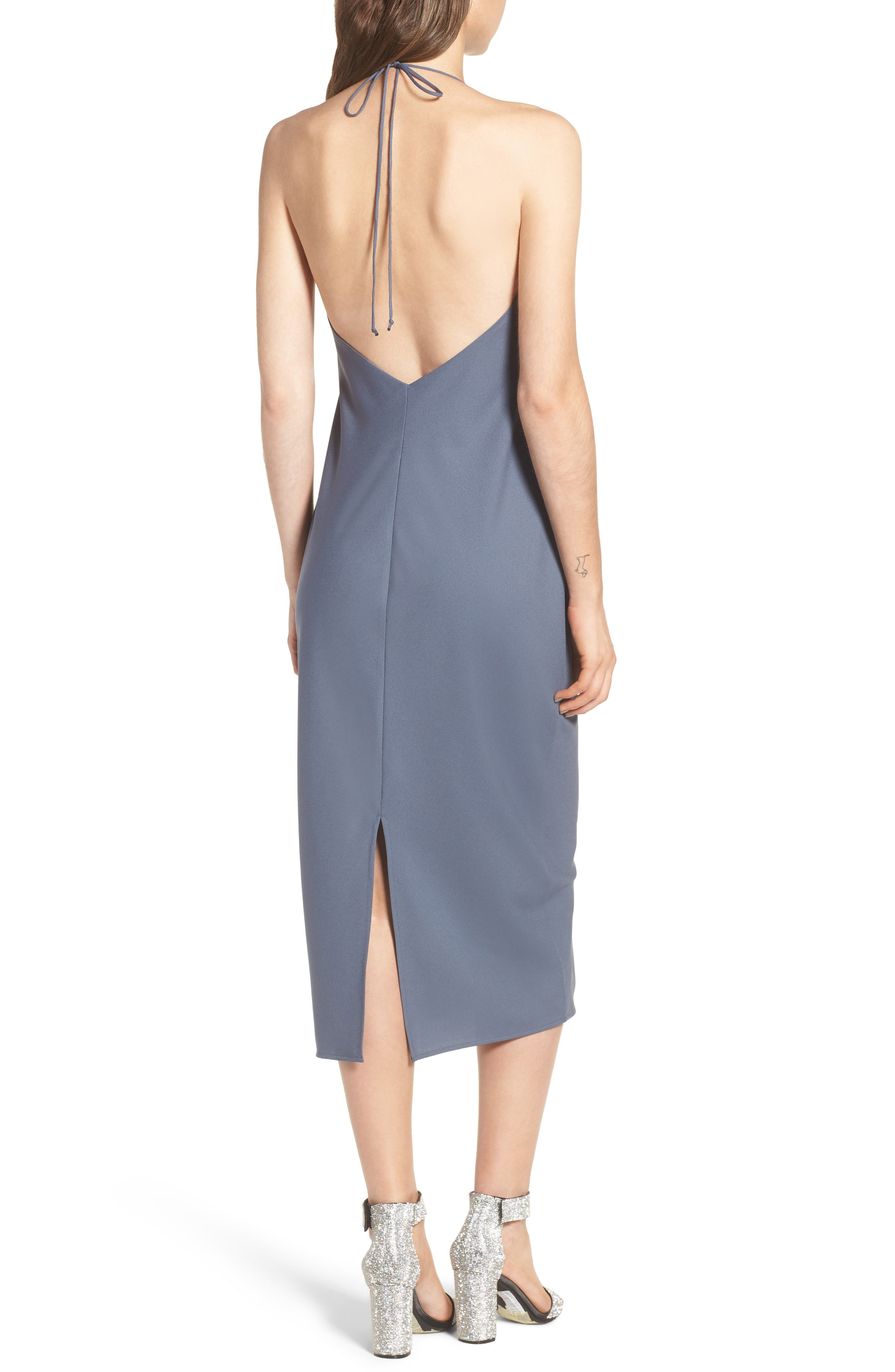 Cowl Neck Midi Dress,                             Alternate thumbnail 2, color,                             Grey Grisaille