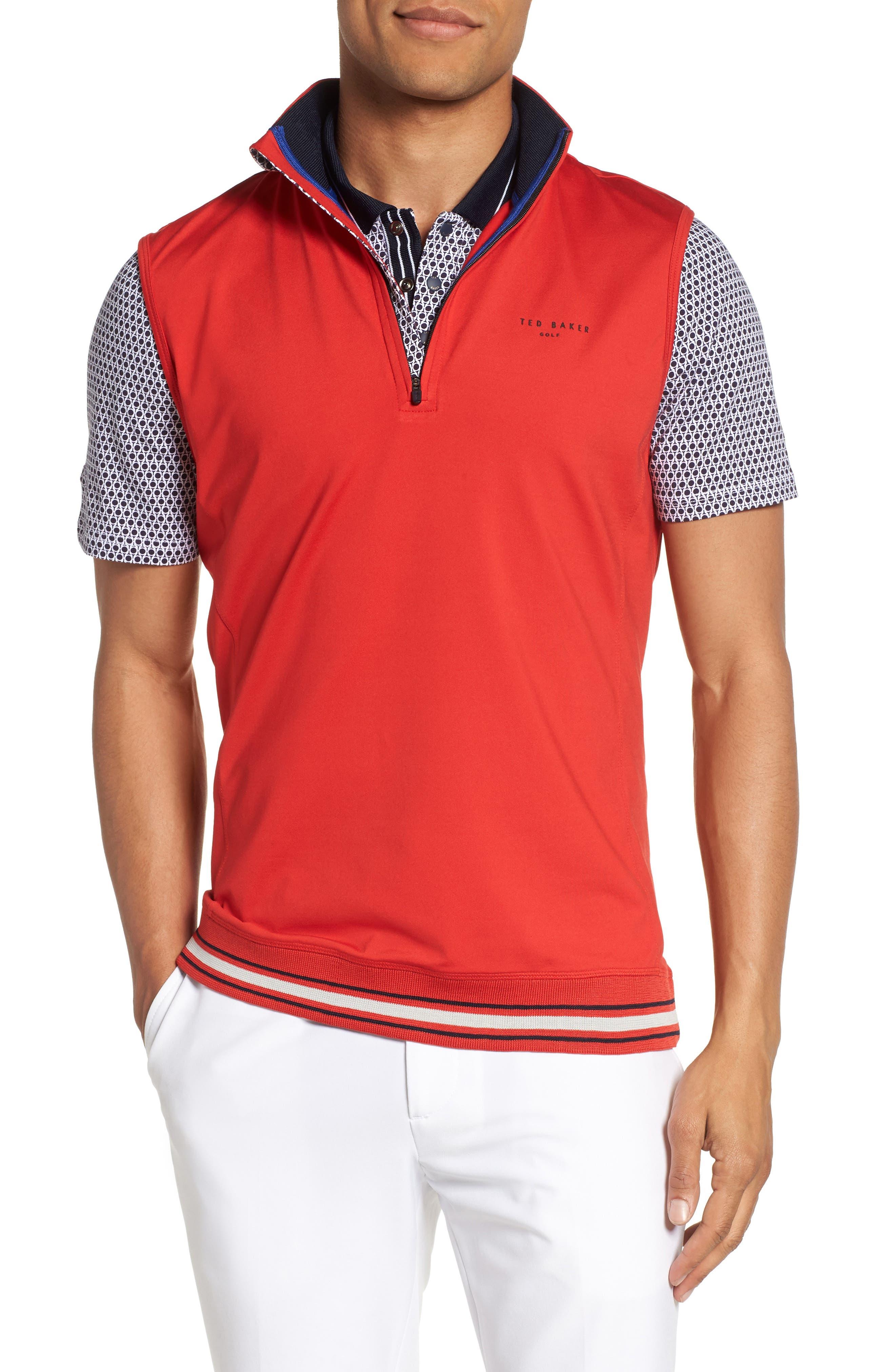 Ted Baker London Gala Trim Golf Quarter-Zip Vest