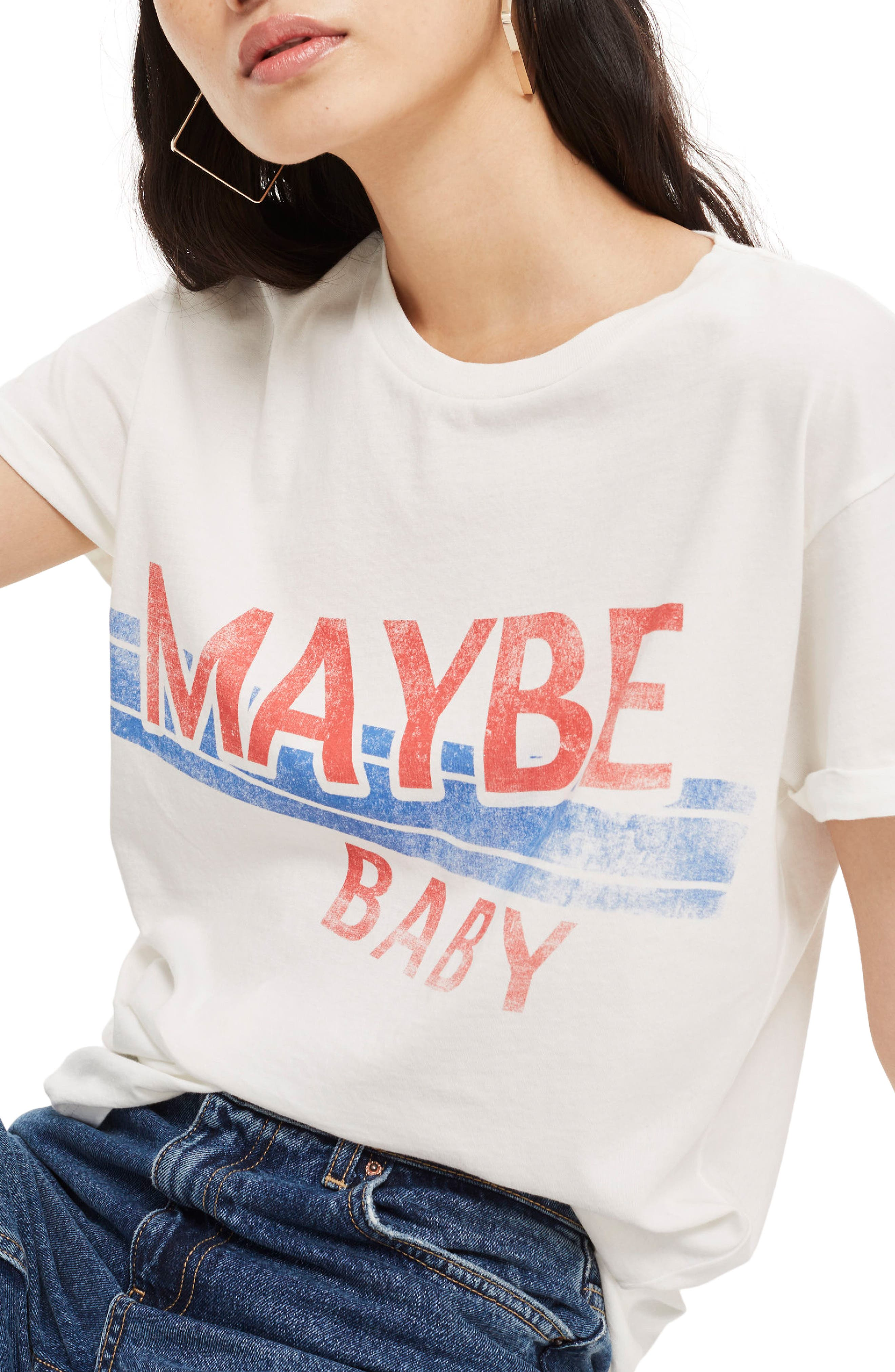 Maybe Baby Cotton Tee,                         Main,                         color, White Multi
