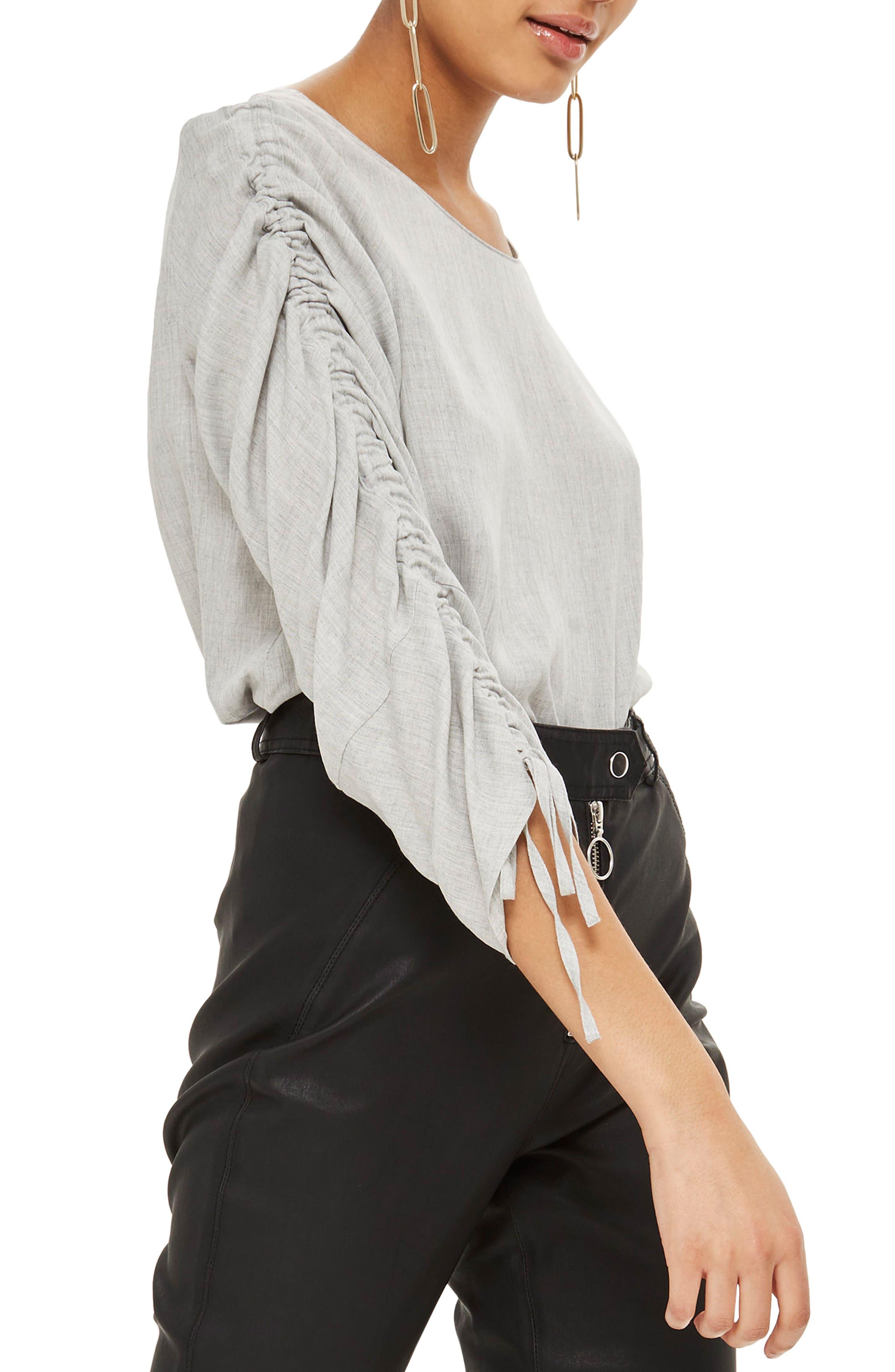 Ruched Sleeve Shirt,                         Main,                         color, Grey