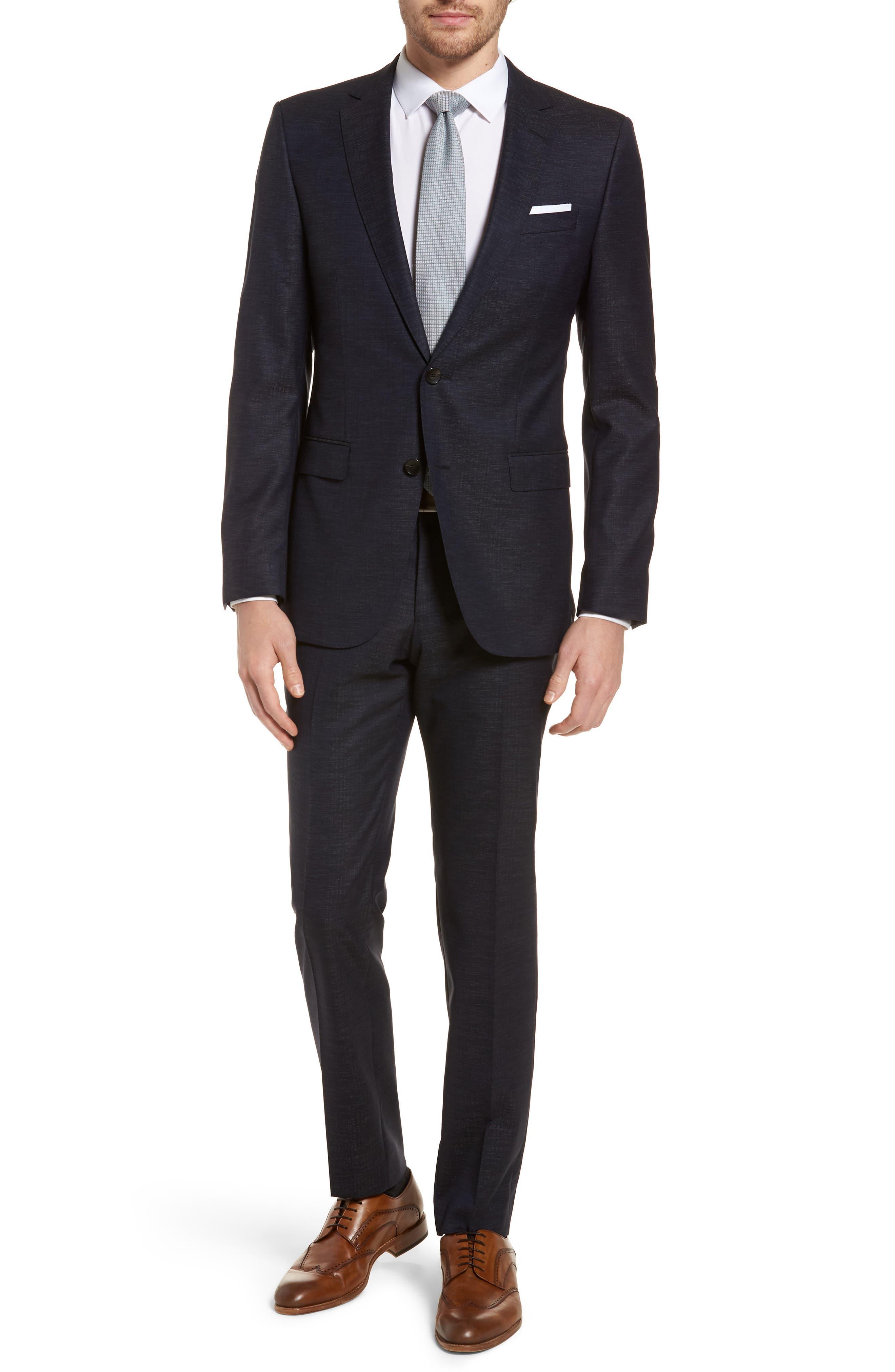 Novan/Ben Trim Fit Solid Wool Blend Suit,                             Main thumbnail 1, color,                             Navy