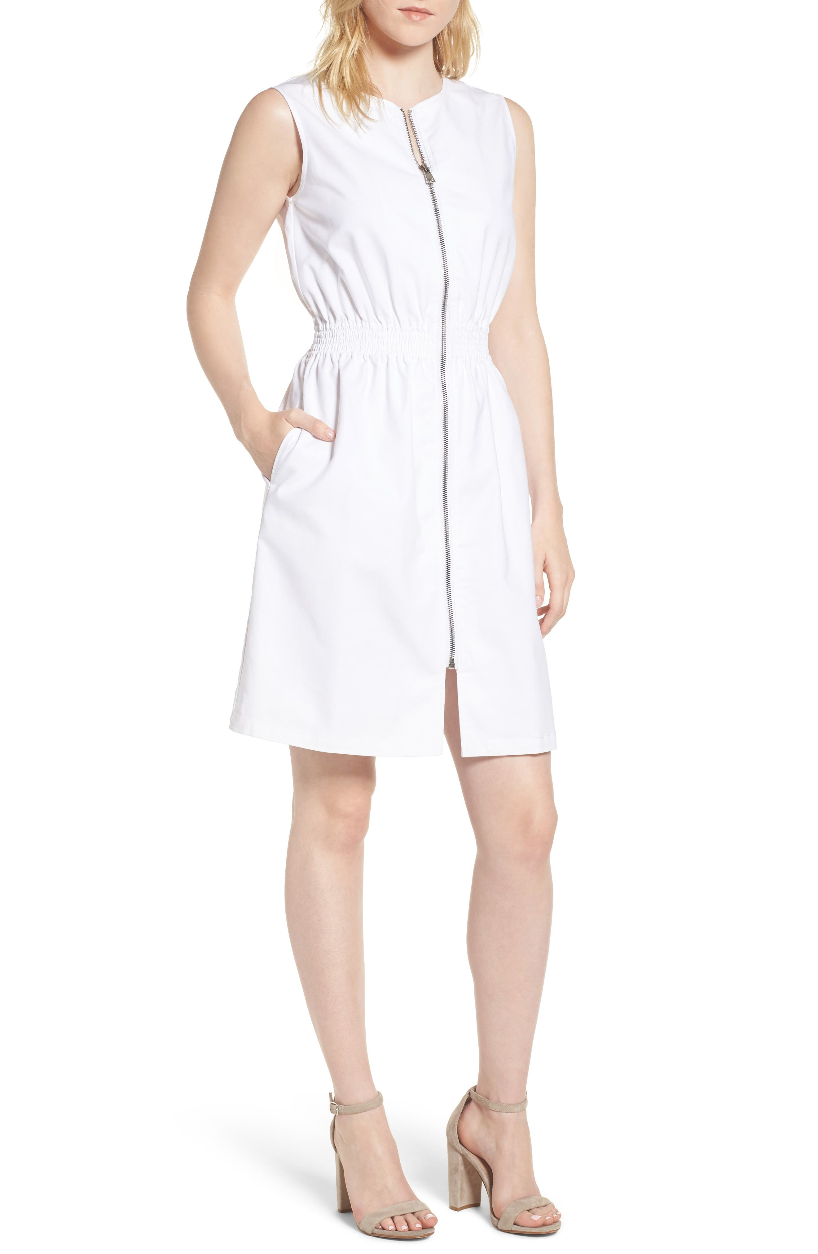 Astoria Zip Front Dress,                             Main thumbnail 1, color,                             White