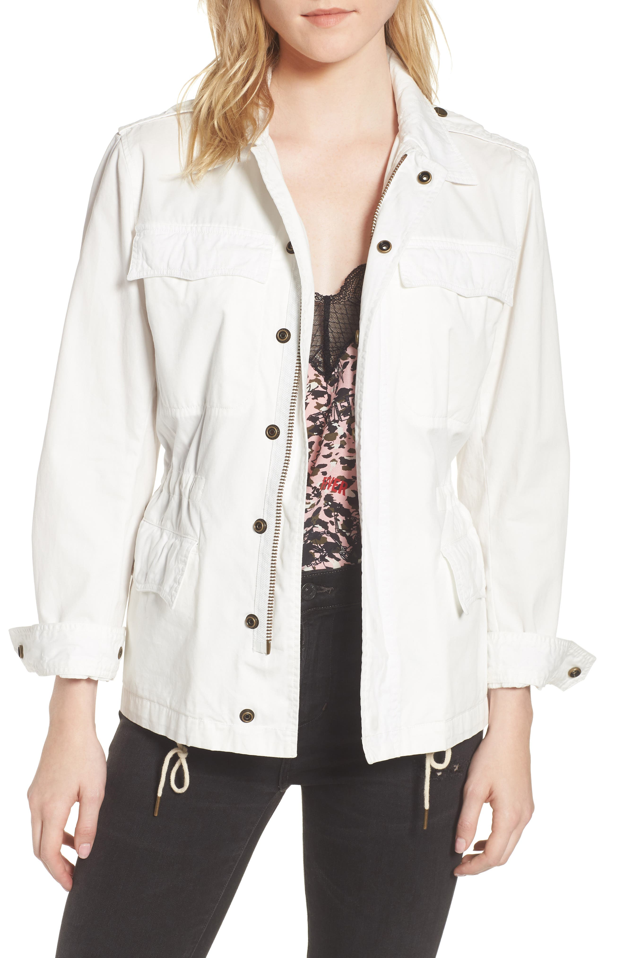 Embroidered Butterfly Cargo Jacket,                         Main,                         color, Judo