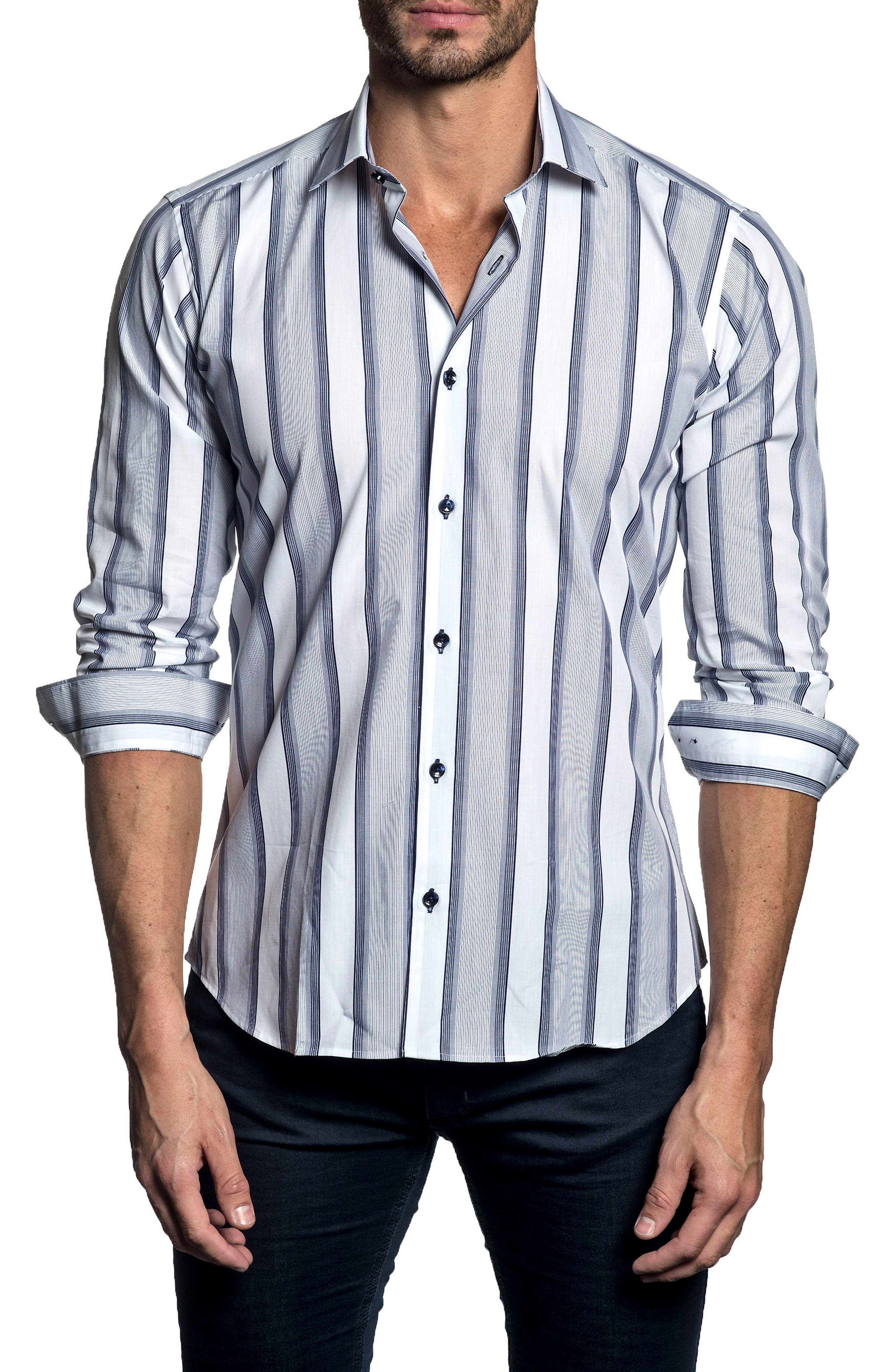 Trim Fit Vertical Stripe Sport Shirt,                         Main,                         color, White/ Navy Stripe