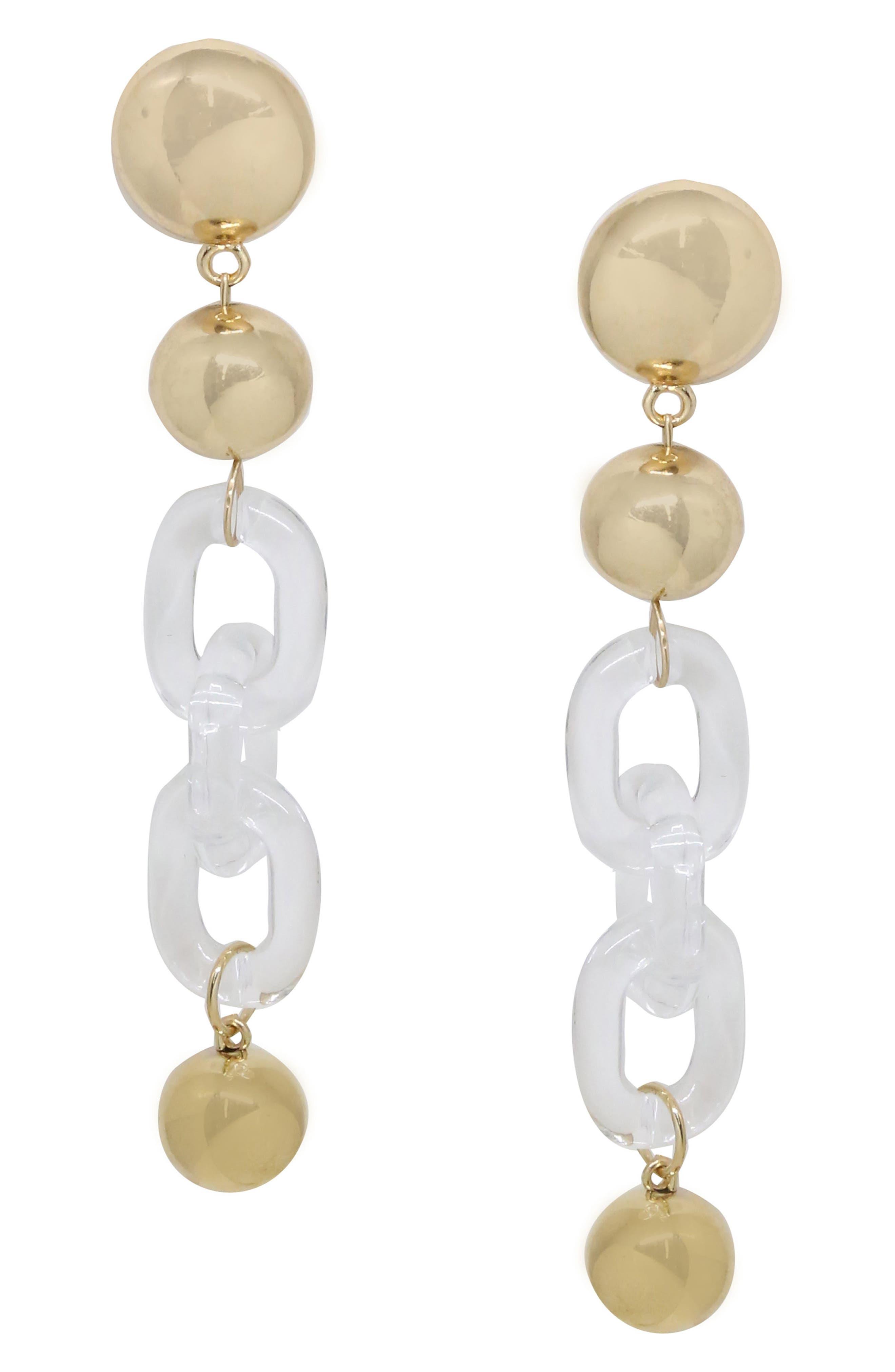 Chain & Sphere Drop Earrings,                             Main thumbnail 1, color,                             Gold