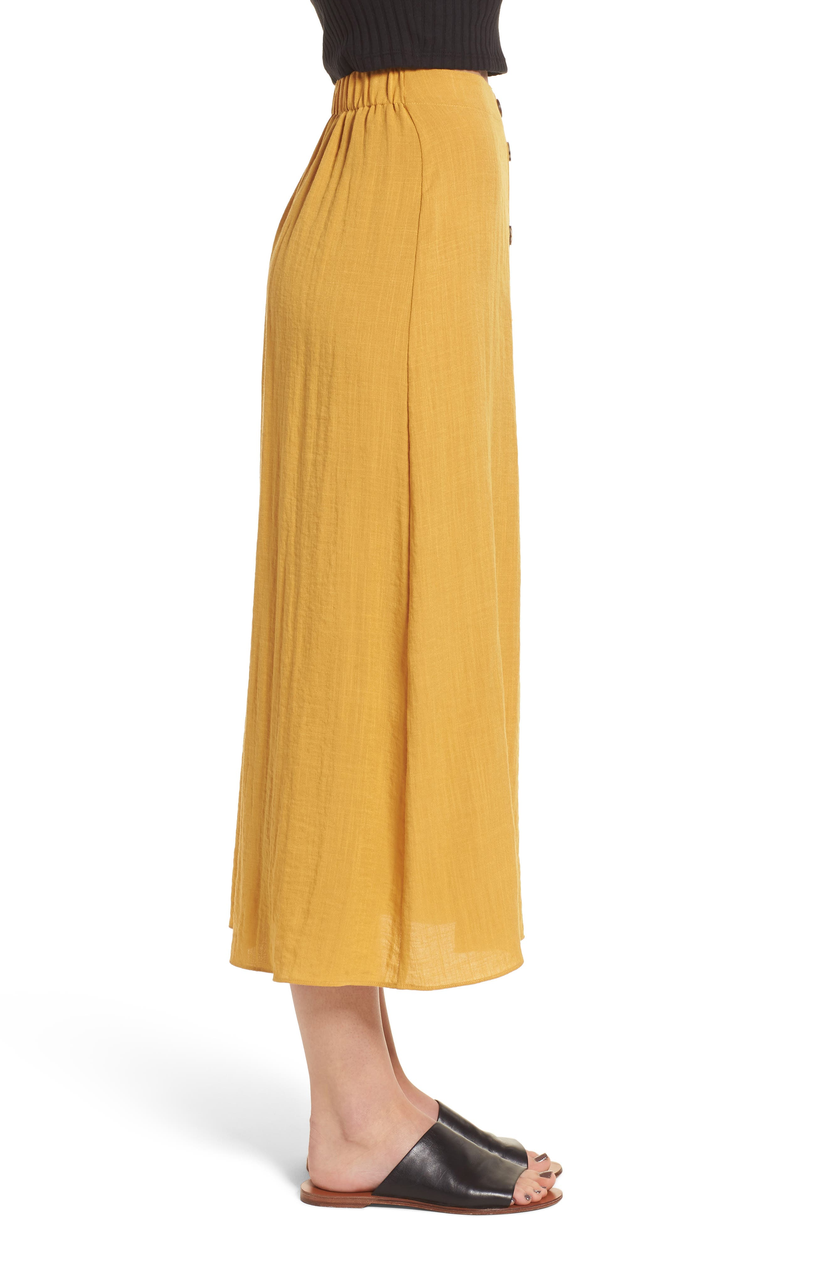 Button Front Midi Skirt,                             Alternate thumbnail 3, color,                             Mustard