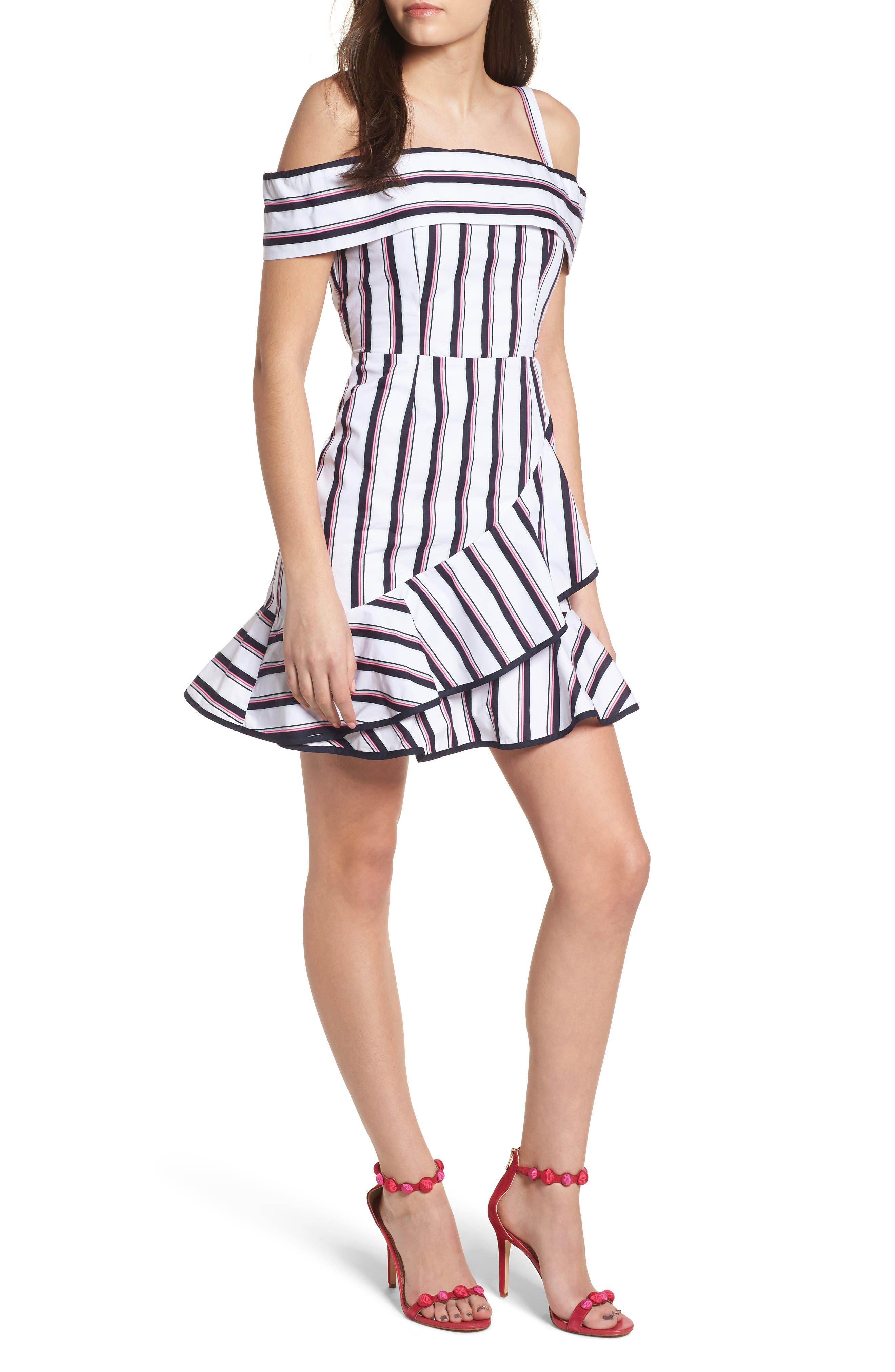 Florence Cold Shoulder Minidress,                             Main thumbnail 1, color,                             Ivory/ Navy Stripe