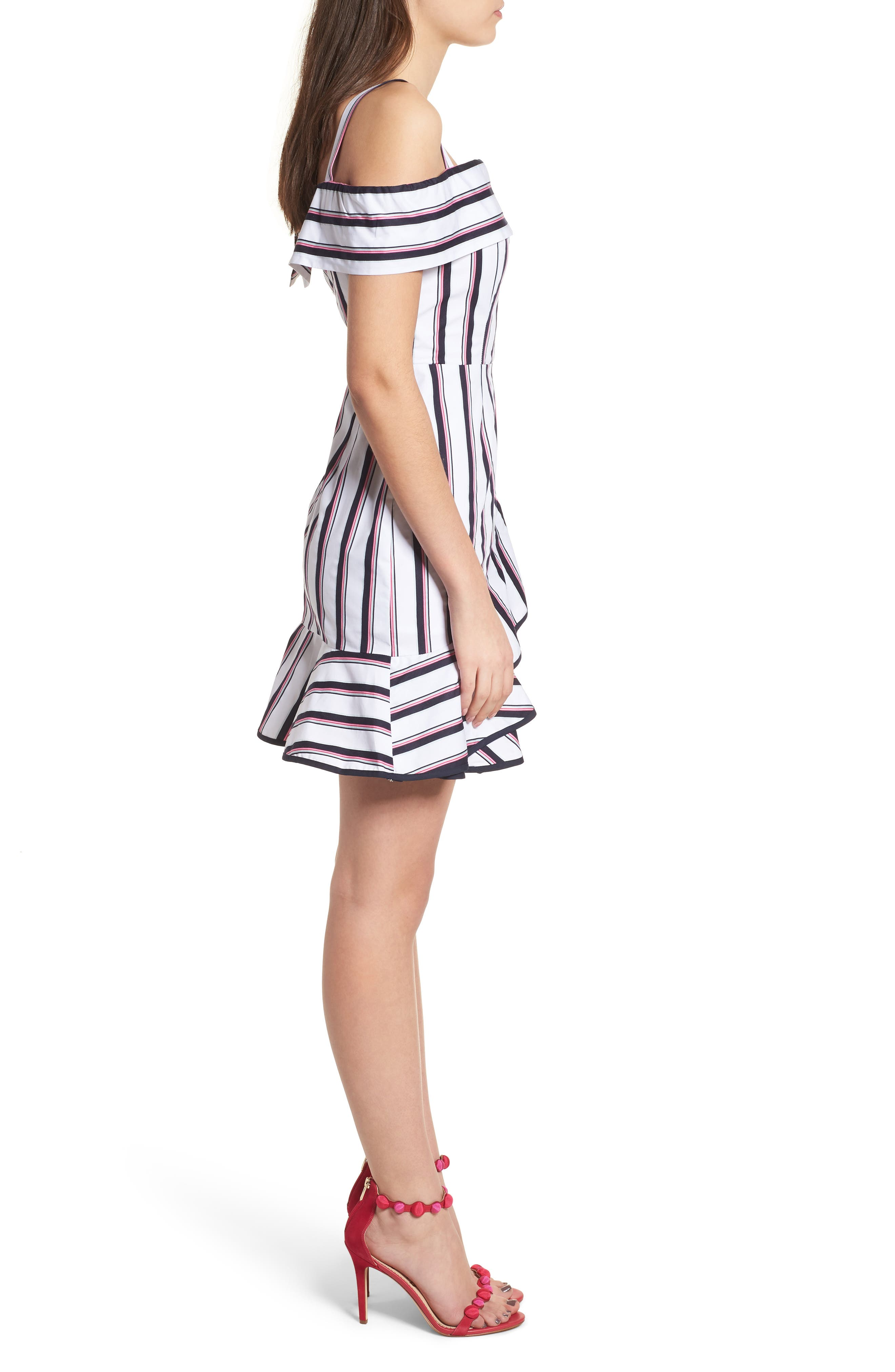 Florence Cold Shoulder Minidress,                             Alternate thumbnail 3, color,                             Ivory/ Navy Stripe