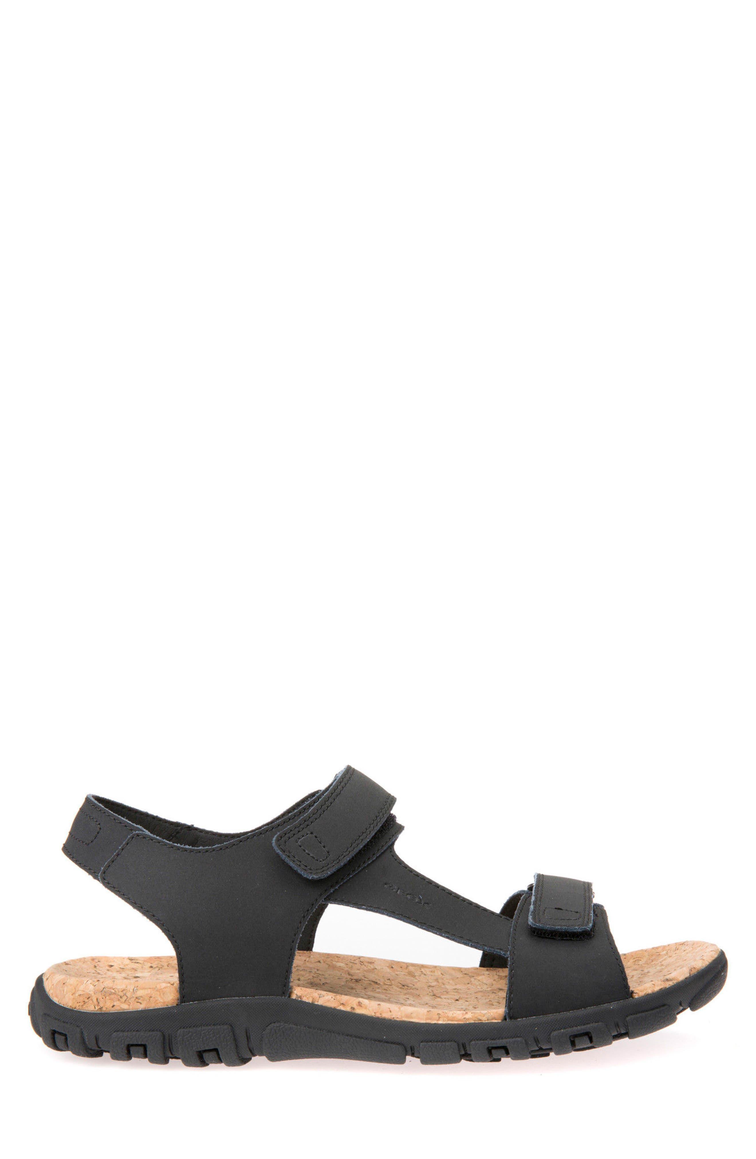 Strada 26 Sport Sandal,                             Alternate thumbnail 3, color,                             Black Leather