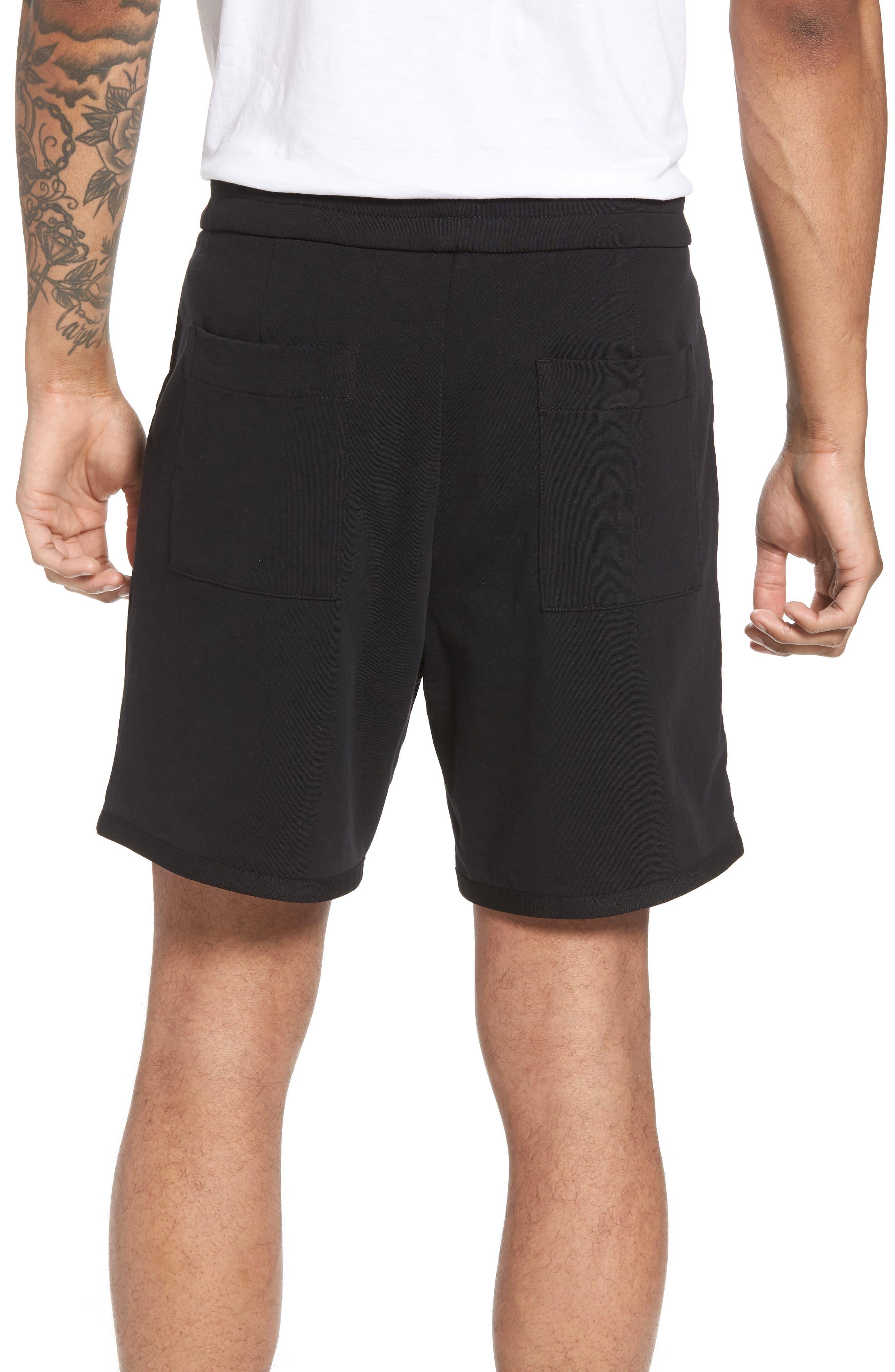 Taped Slim Fit Track Shorts,                             Alternate thumbnail 2, color,                             Black/ Black