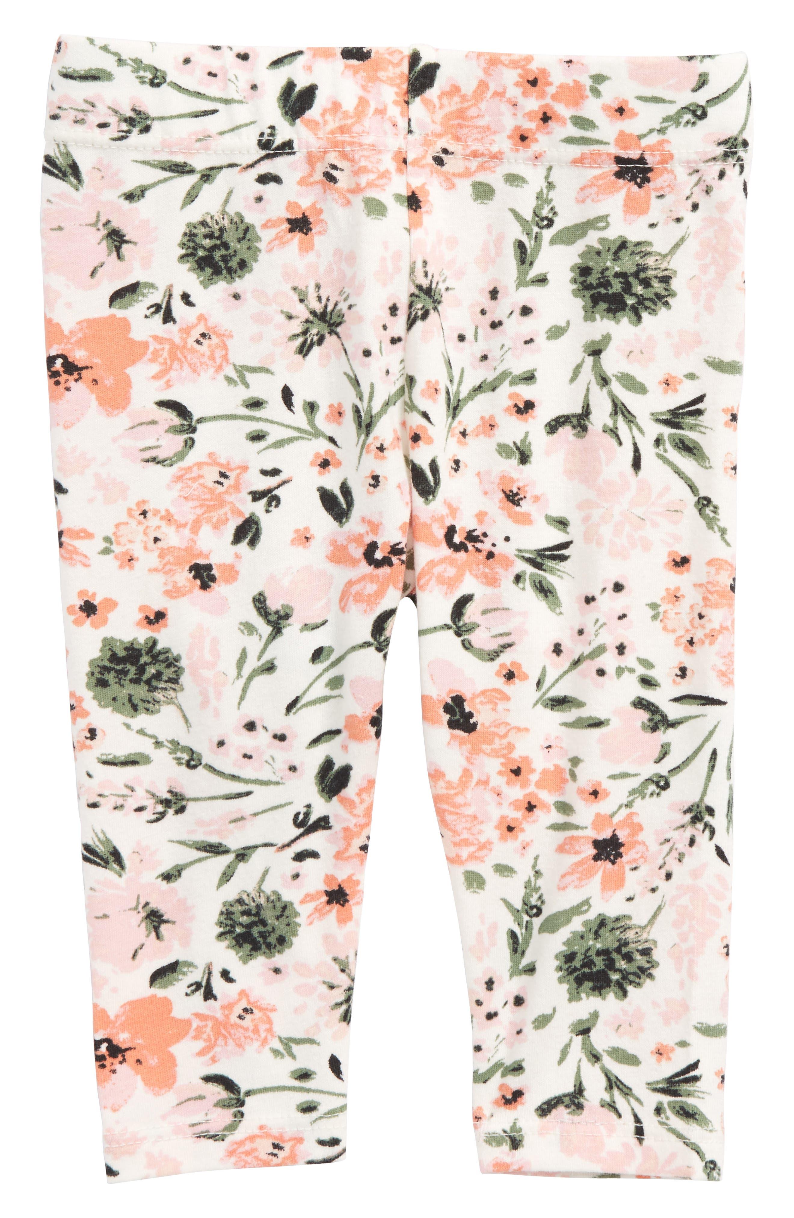 Floral Print Leggings,                         Main,                         color, Ivory Egret Botanical Garden