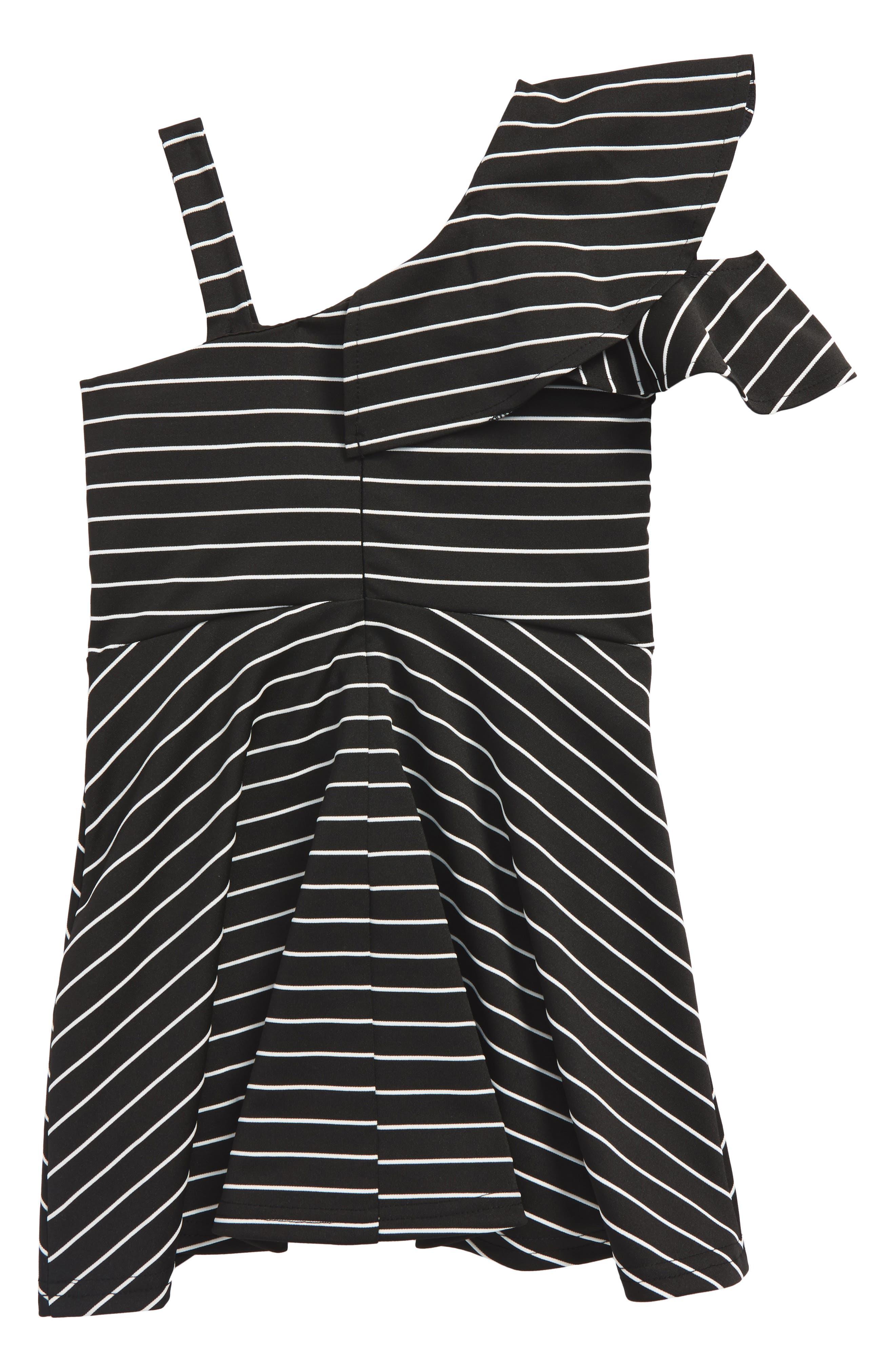 Senna Stripe Asymmetrical Ruffle Dress,                             Alternate thumbnail 2, color,                             Stripe