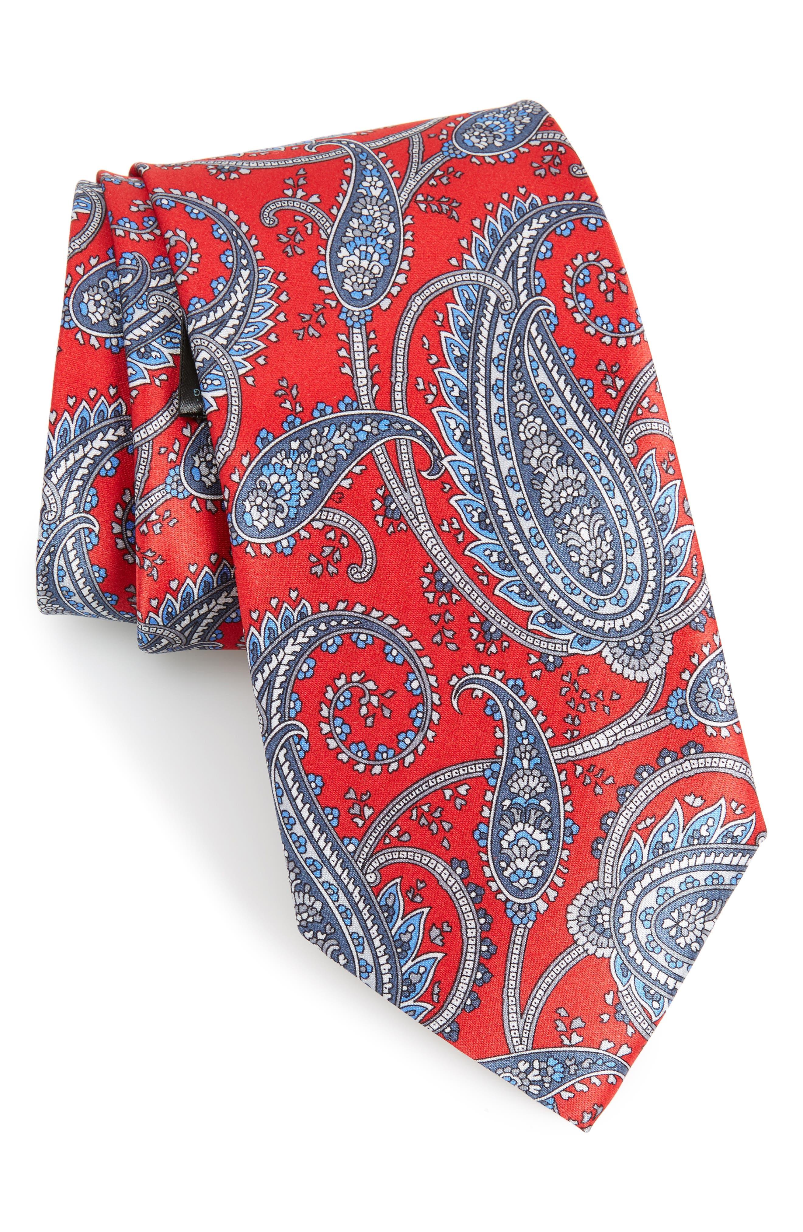 Paisley Silk Tie,                         Main,                         color, Flame/ Blue