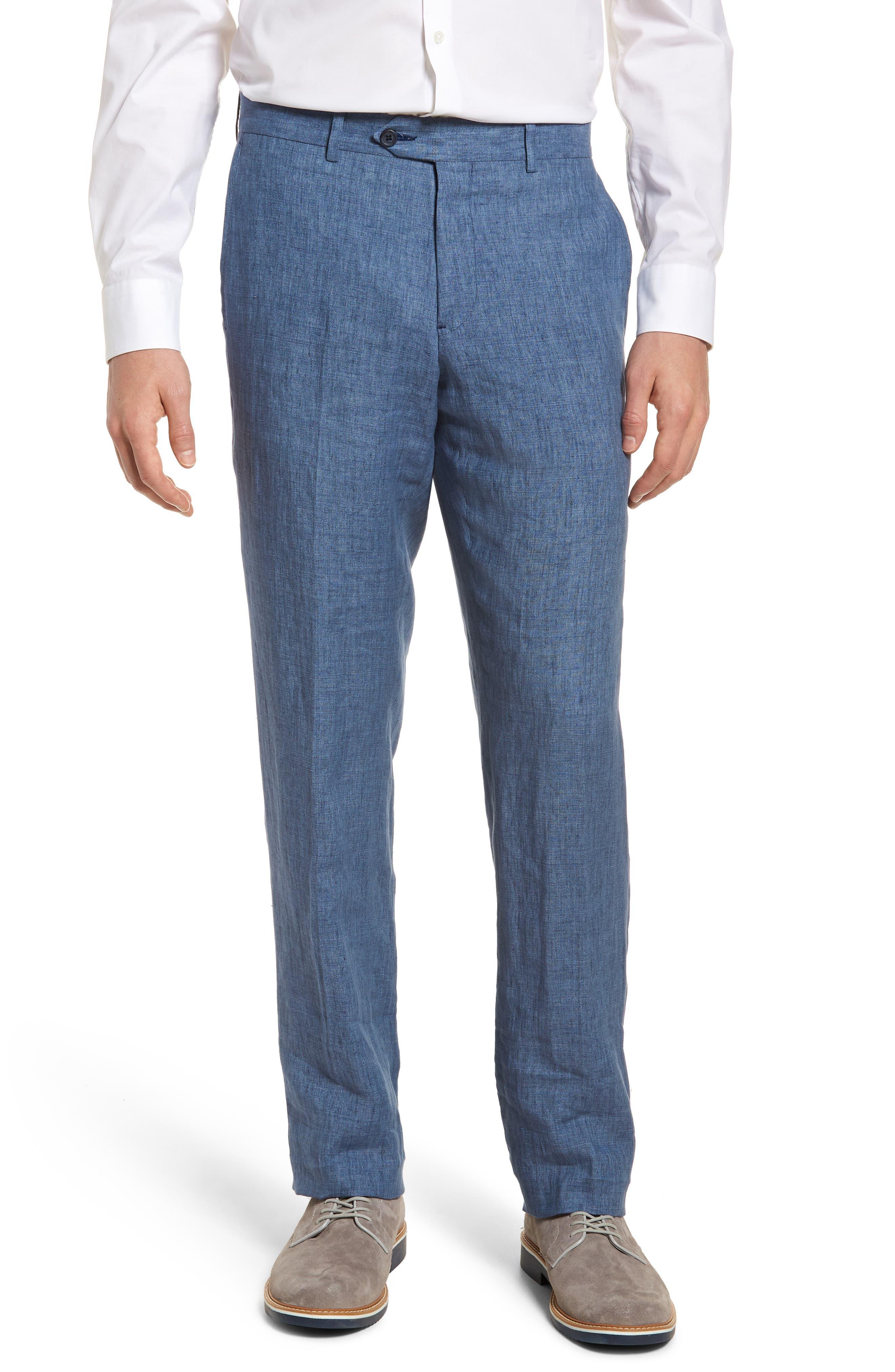 Flat Front Solid Linen Trousers,                         Main,                         color, Blue Denim