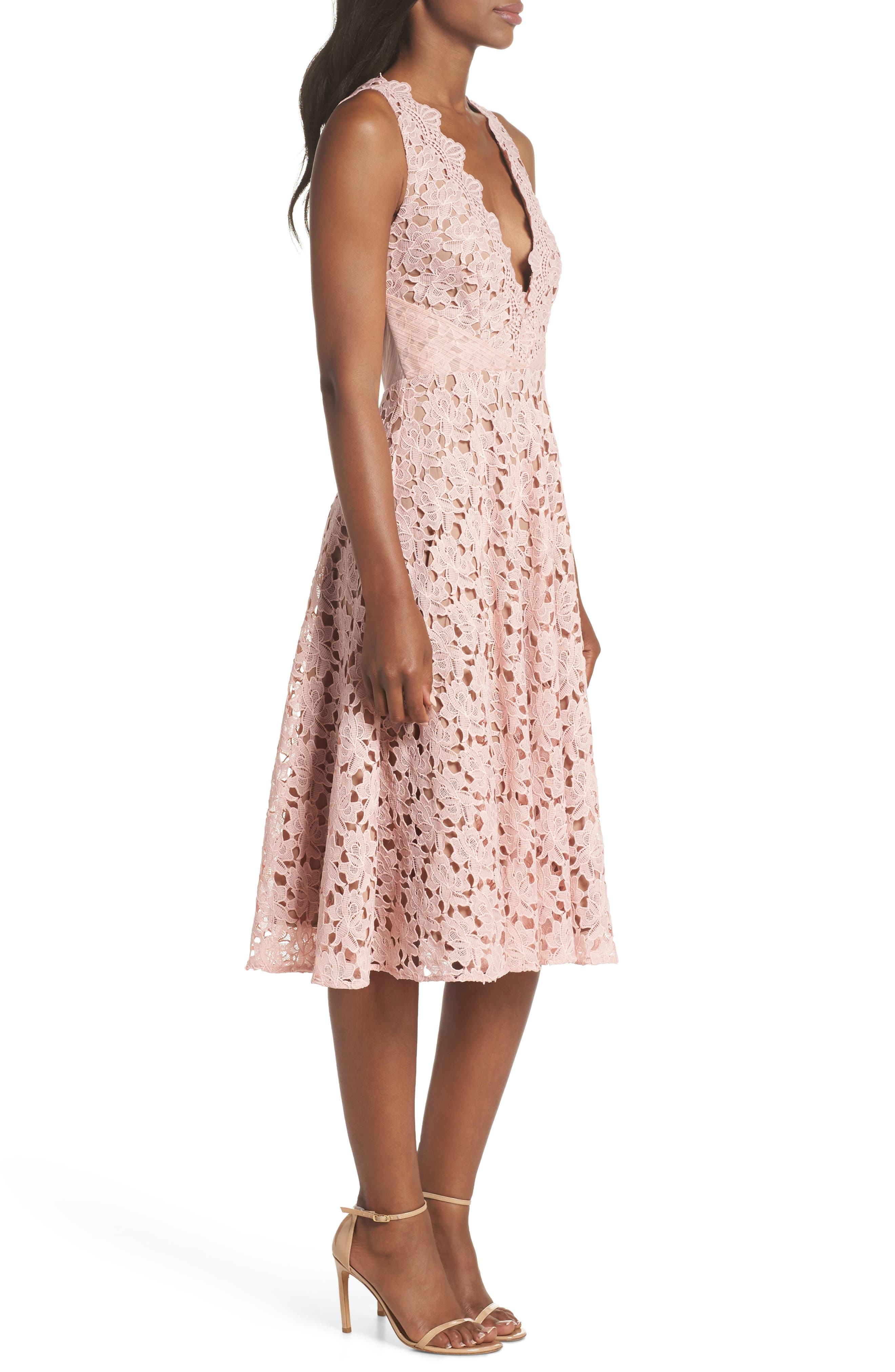 Ashley Guipure Lace Fit & Flare Dress,                             Alternate thumbnail 3, color,                             Pink