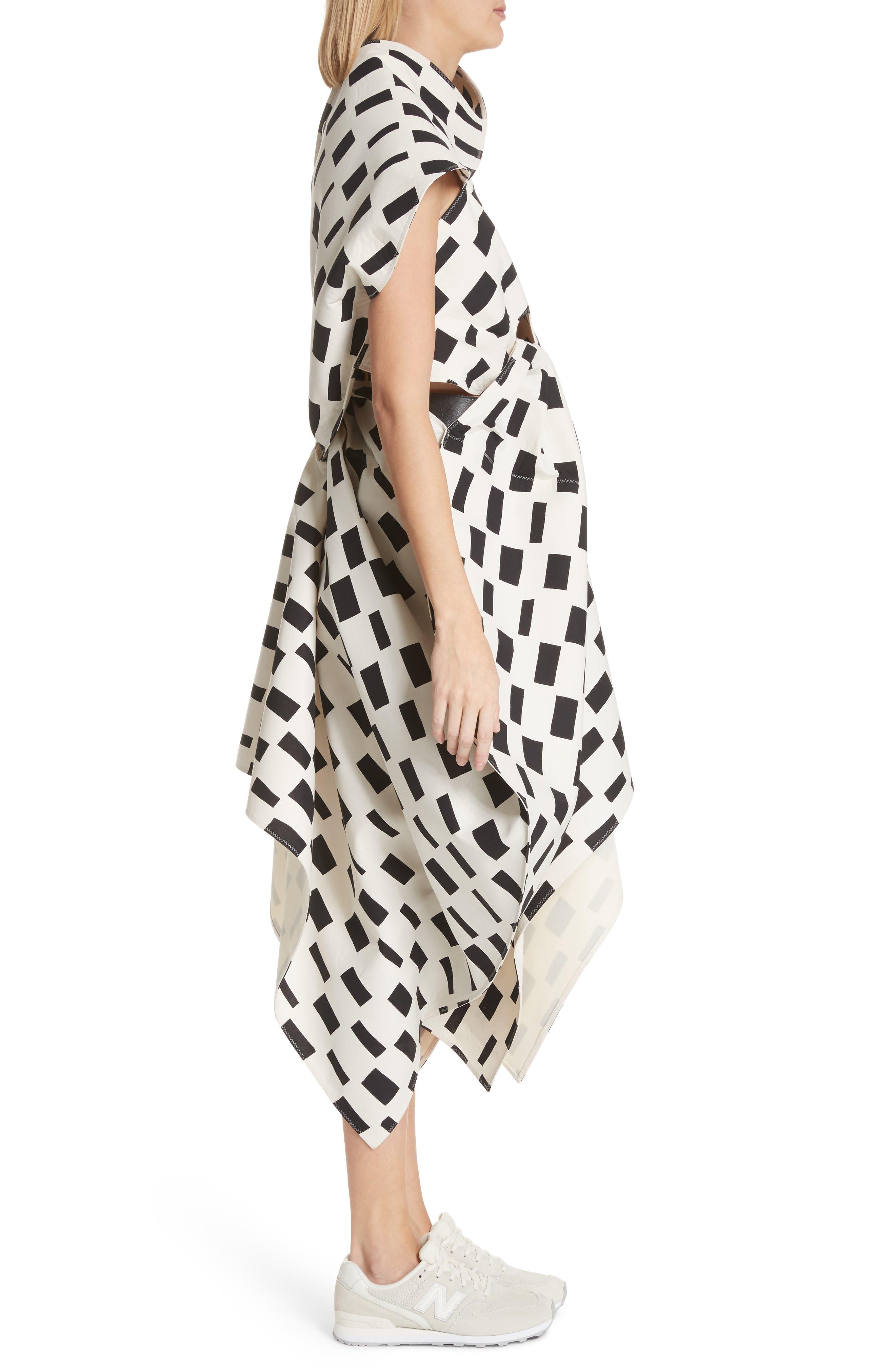 Interweave Geo Print Dress,                             Alternate thumbnail 3, color,                             Off White/ Black