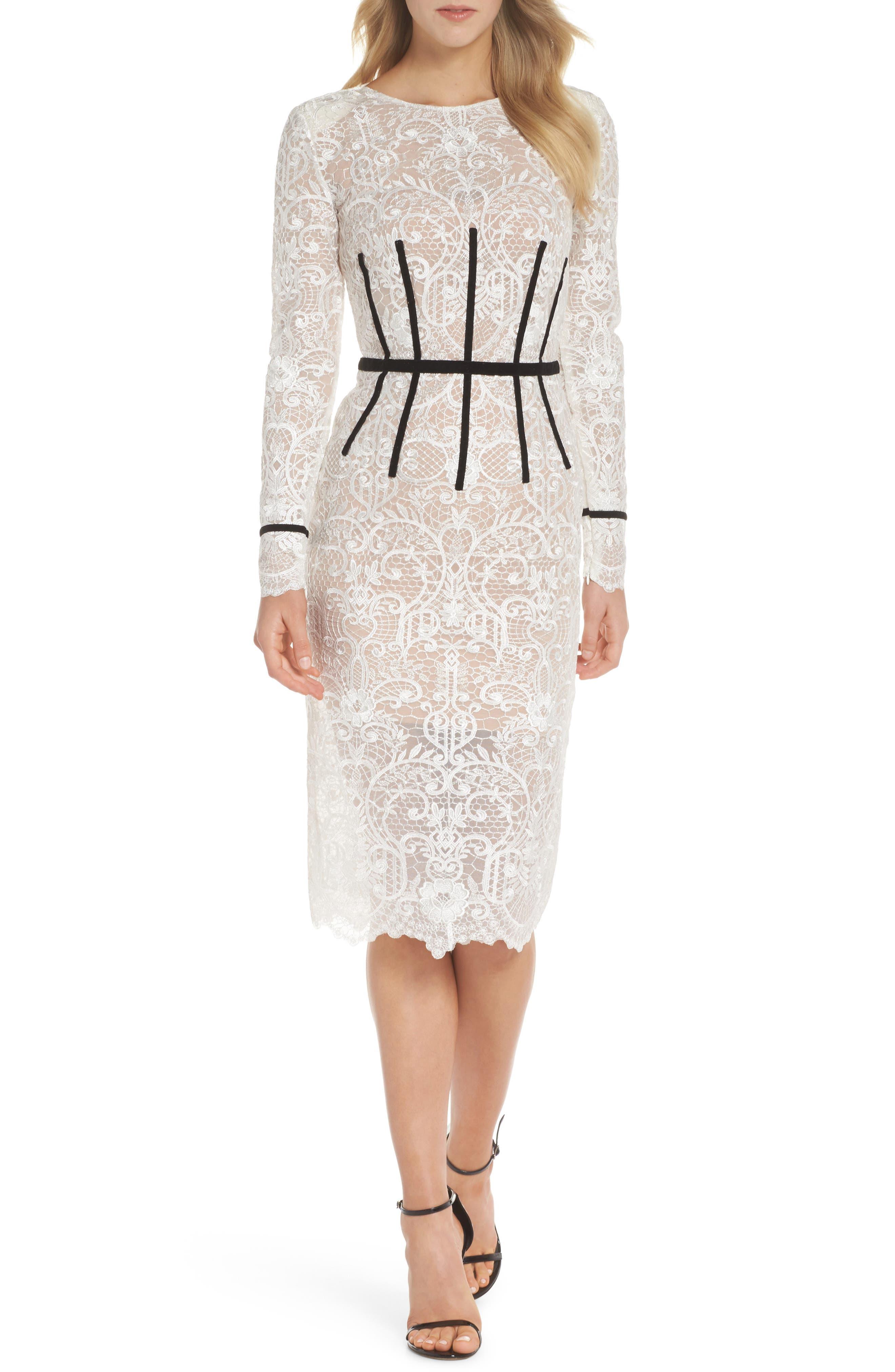Venice Derby Lace Pencil Dress,                         Main,                         color, White/ Black