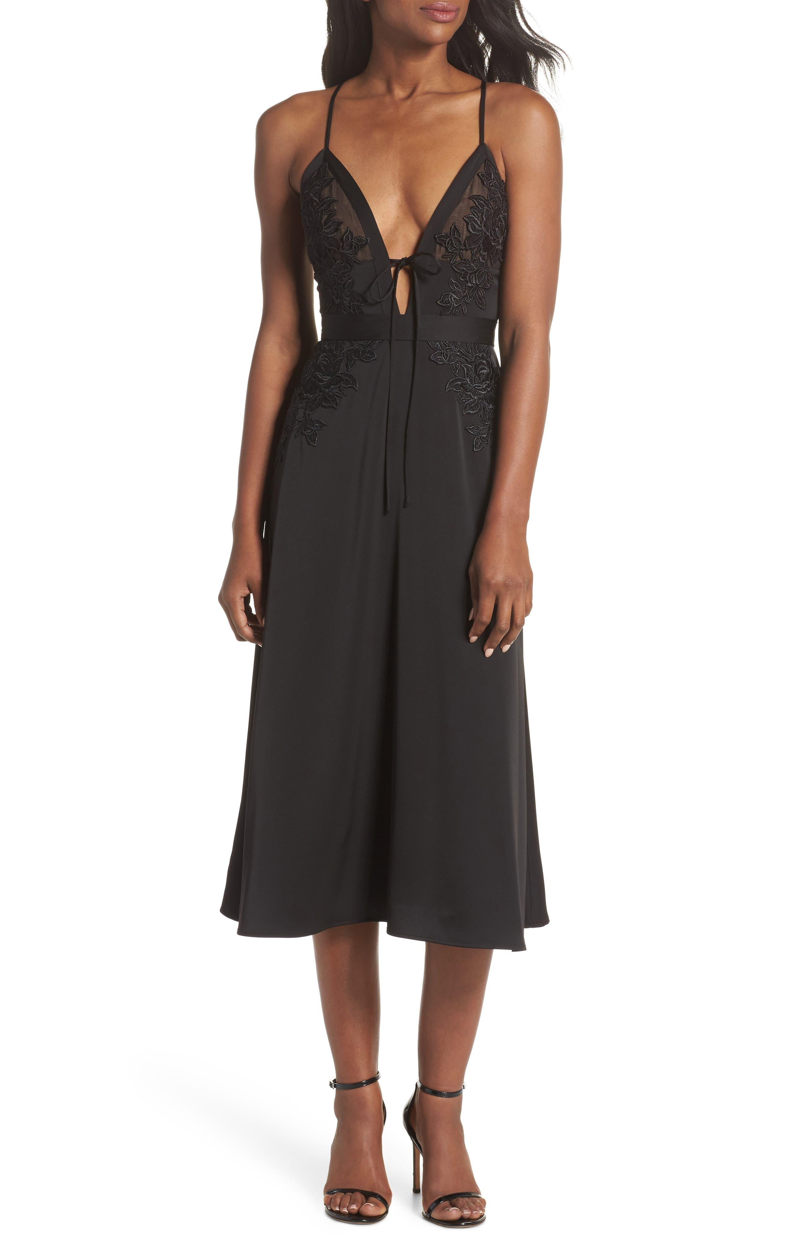 Rhea Floral Appliqué A-Line Dress,                             Main thumbnail 1, color,                             Black Multi