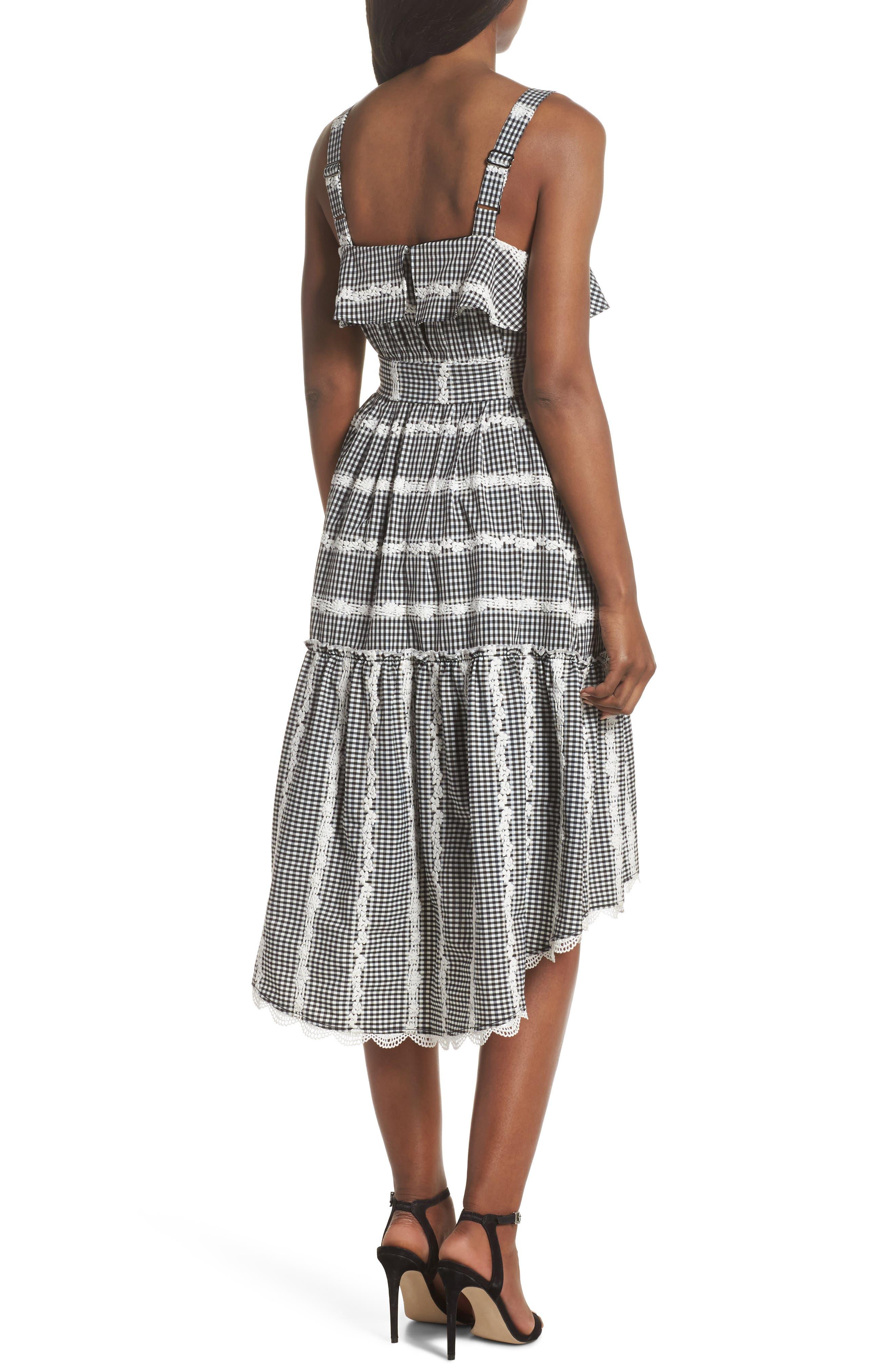 Belle Midi Dress,                             Alternate thumbnail 2, color,                             Black/ White