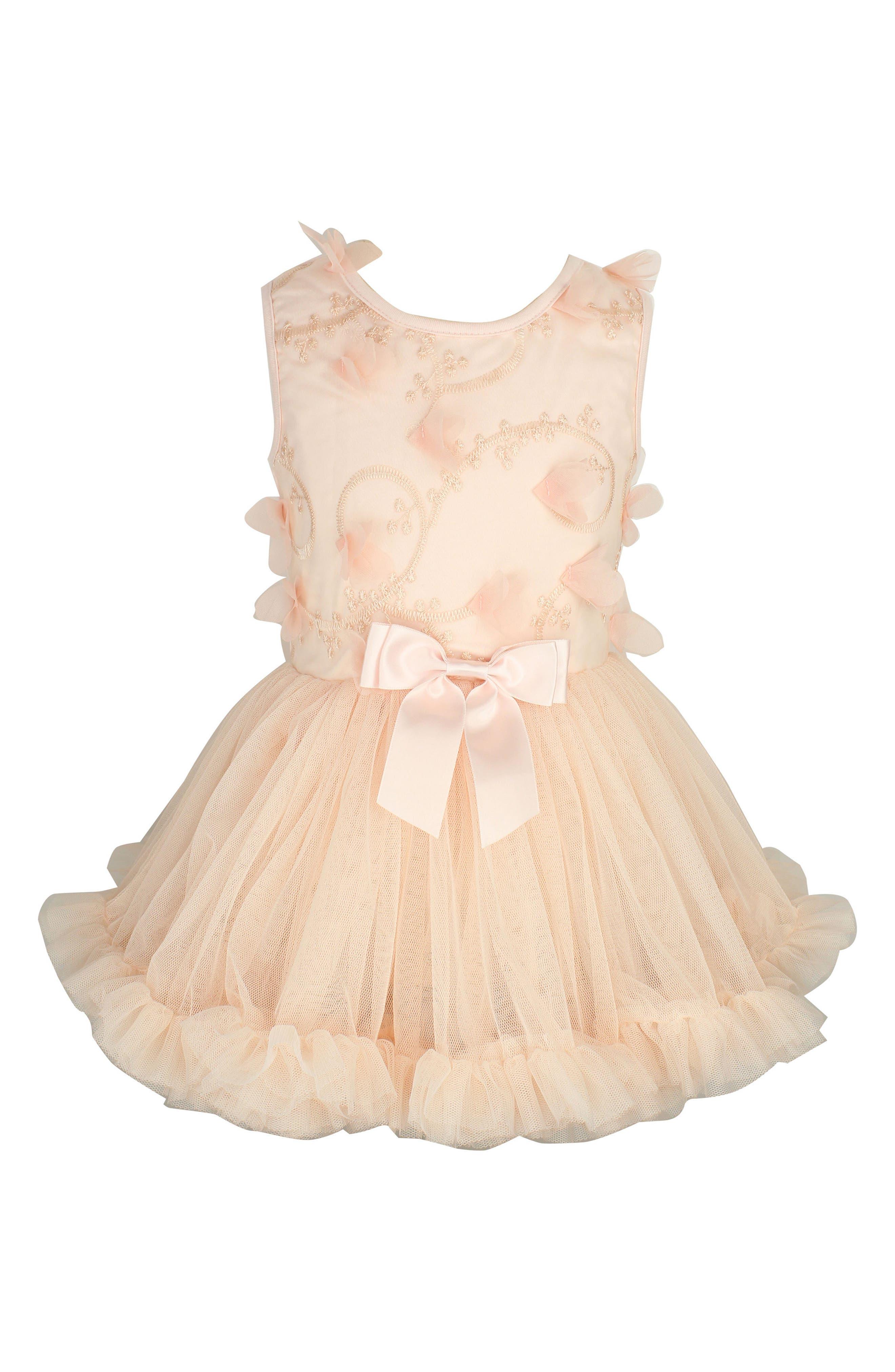 Butterfly Tutu Dress,                         Main,                         color, Peach