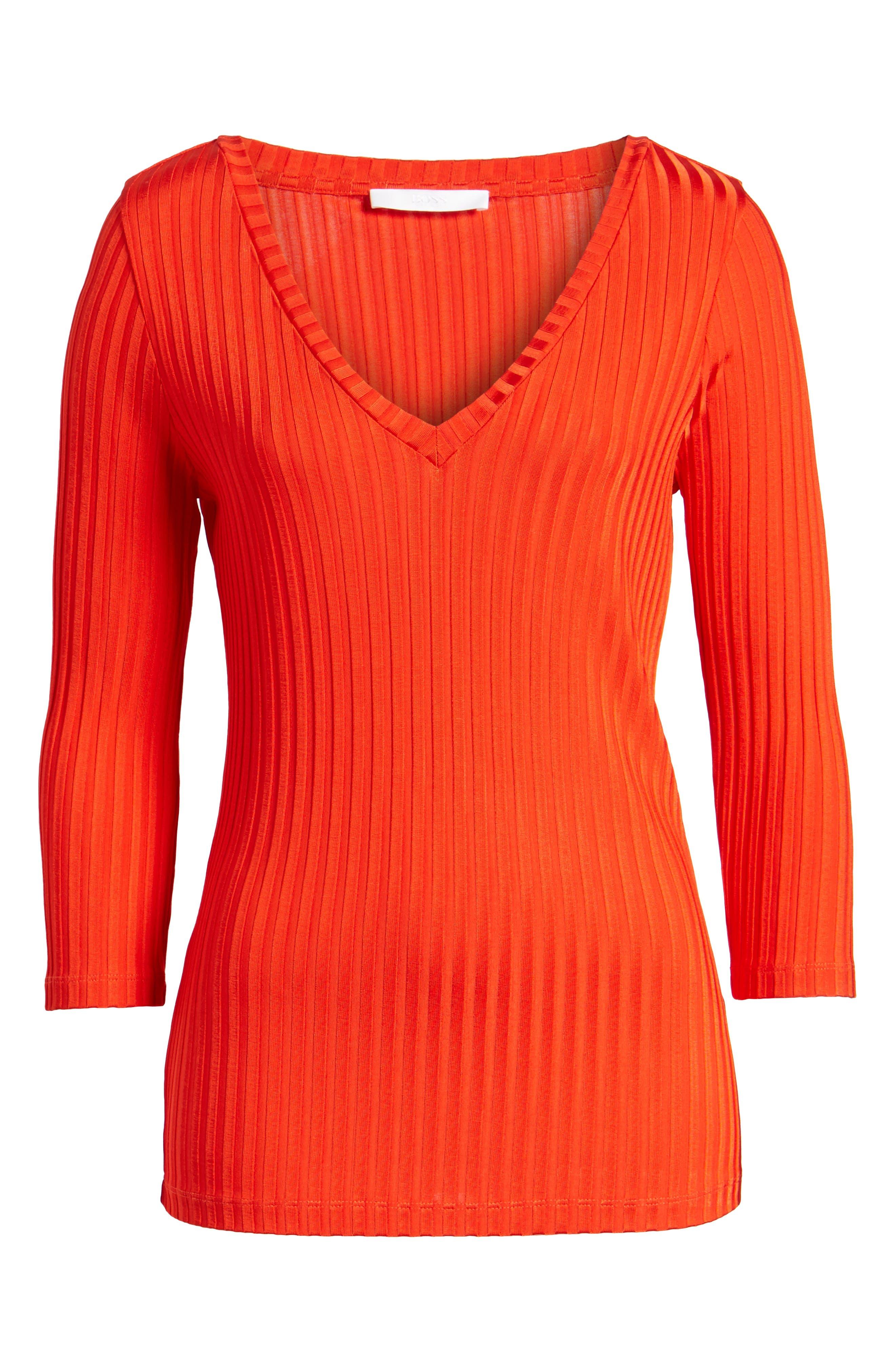 Etrica V-Neck Ribbed Top,                             Alternate thumbnail 7, color,                             Sunset Orange