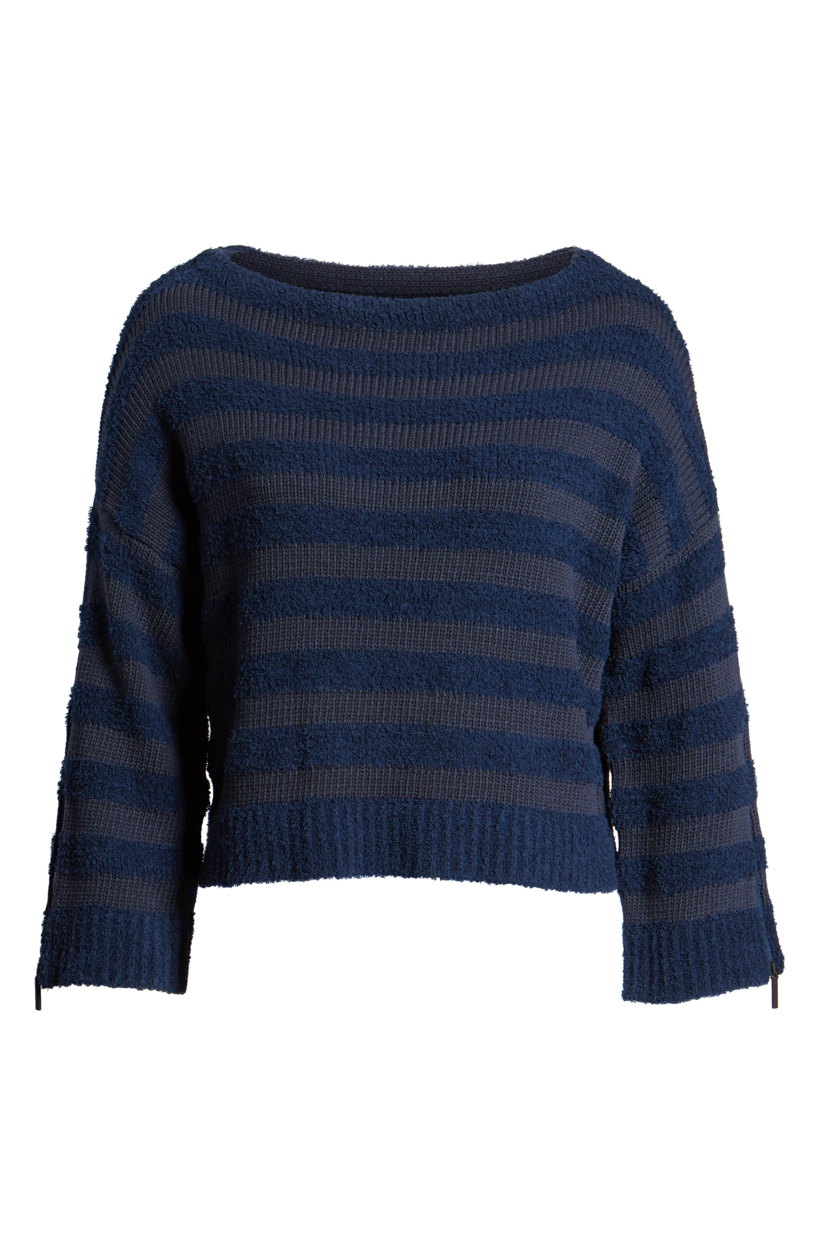 Zip Sleeve Stripe Sweater,                             Alternate thumbnail 7, color,                             Indigo