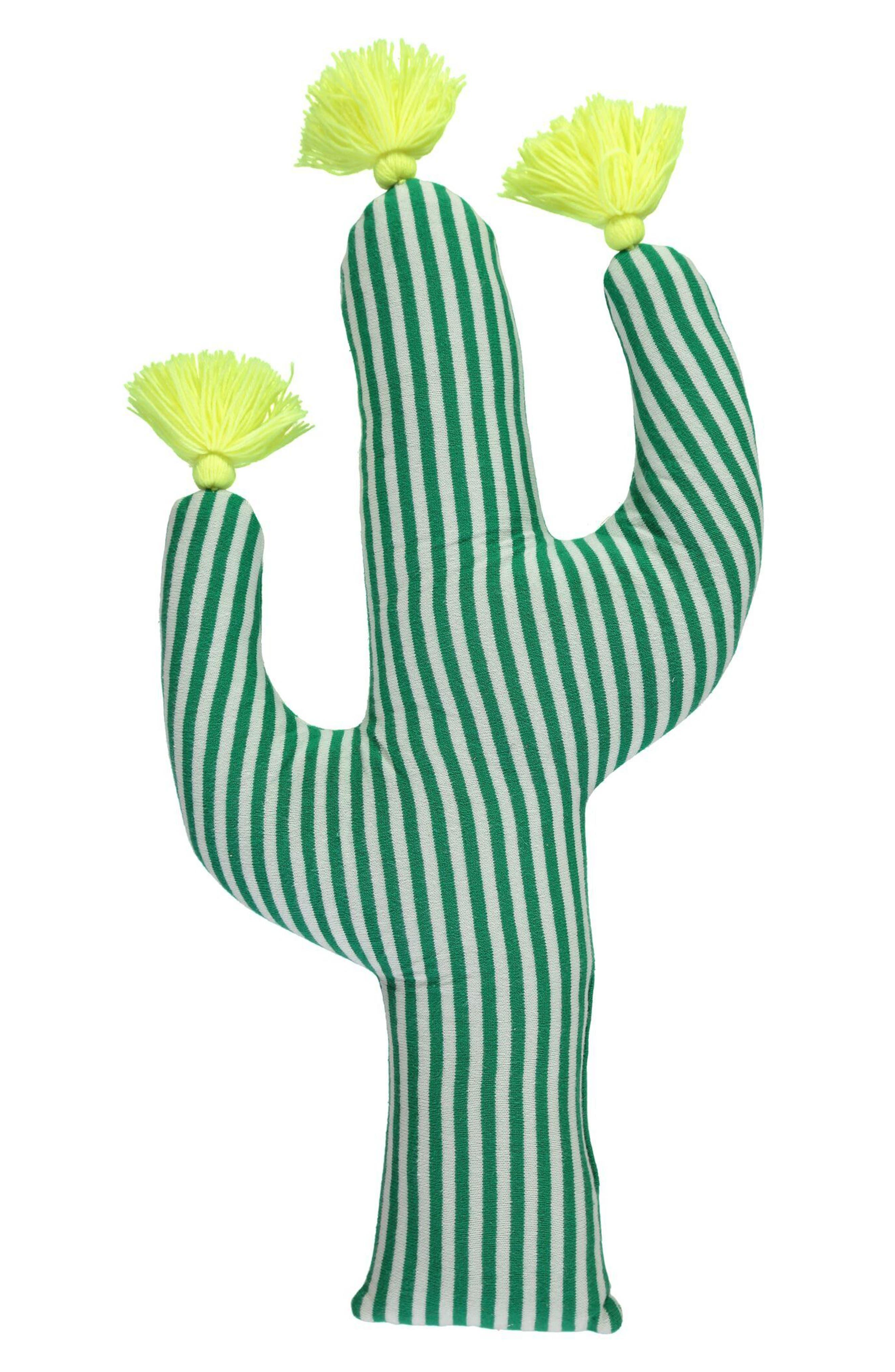 Knit Organic Cotton Cactus Cushion,                             Main thumbnail 1, color,                             Green