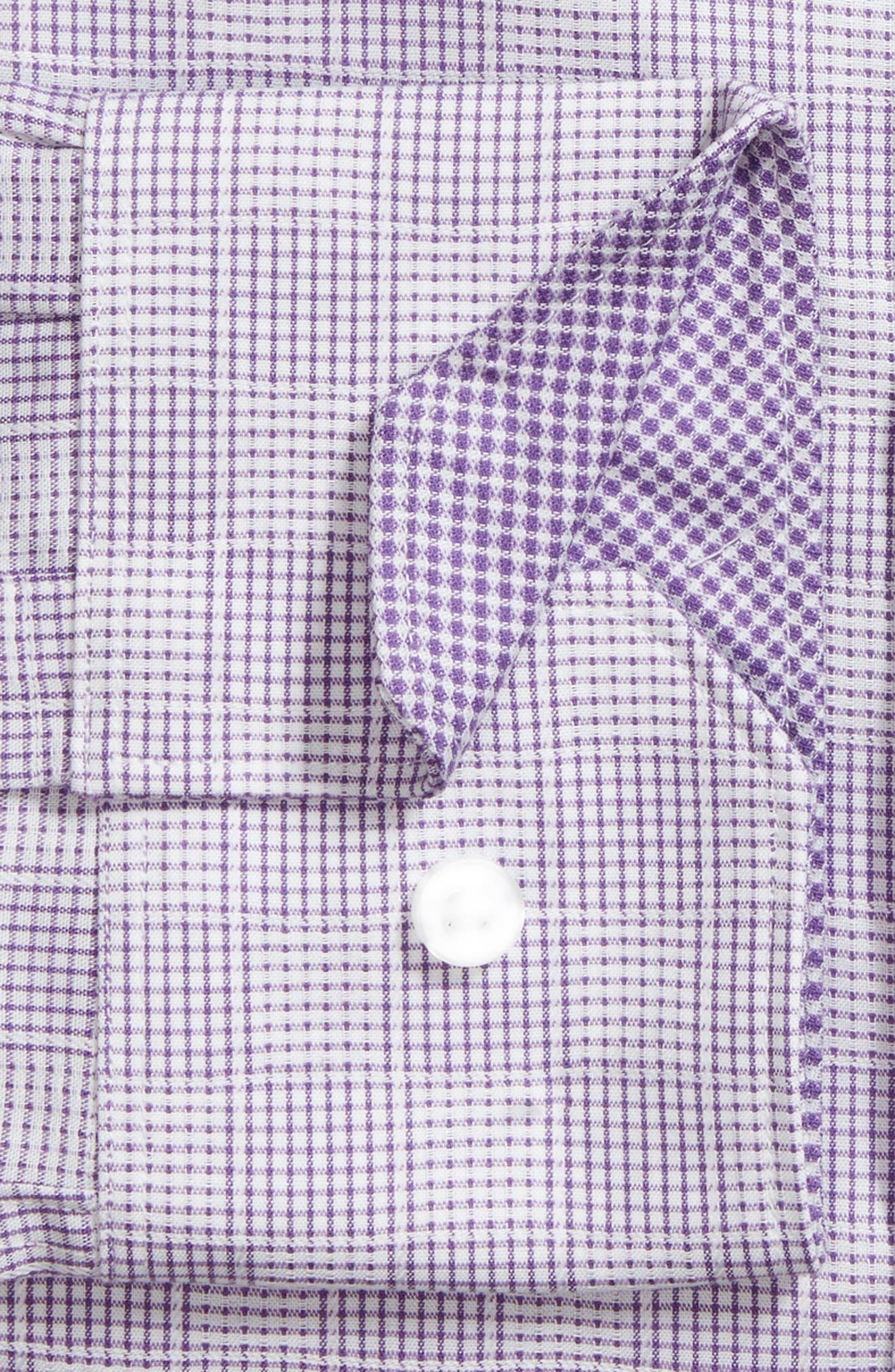 Haper Trim Fit Plaid Dress Shirt,                             Alternate thumbnail 5, color,                             Purple