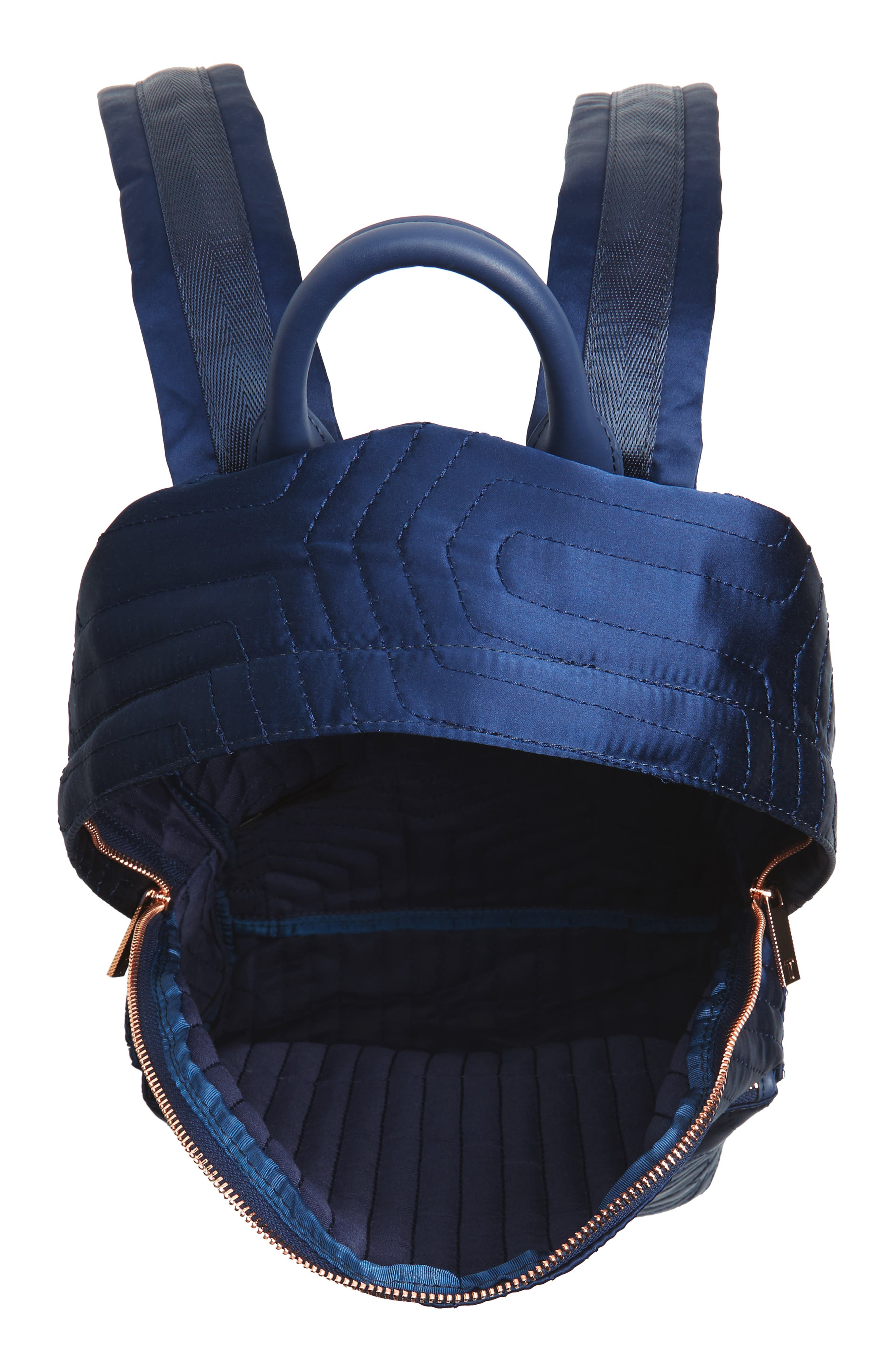 Akija Quilted Bow Backpack,                             Alternate thumbnail 4, color,                             Navy