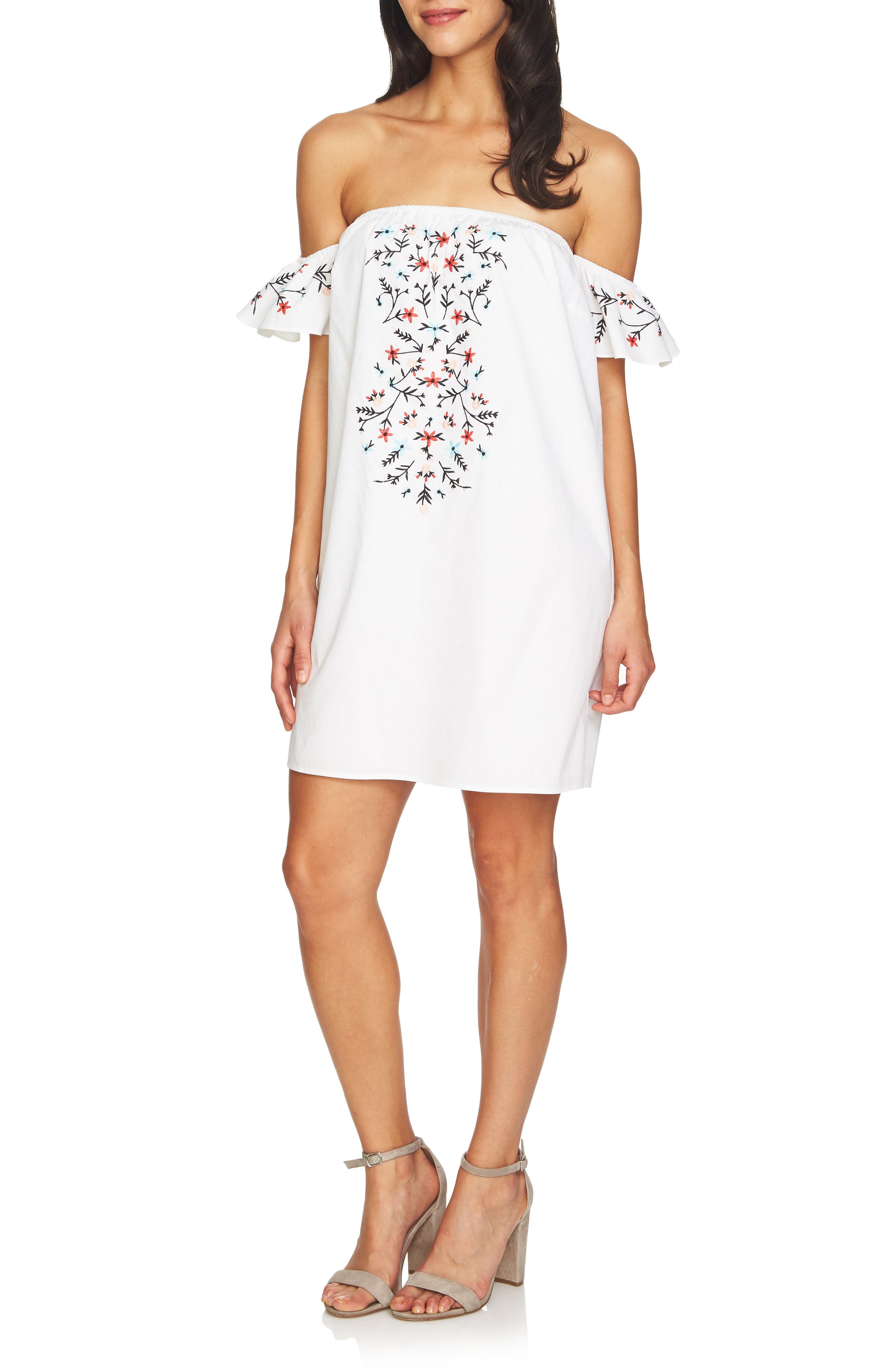 Off the Shoulder Embroidered Dress,                             Main thumbnail 1, color,                             Ultra White