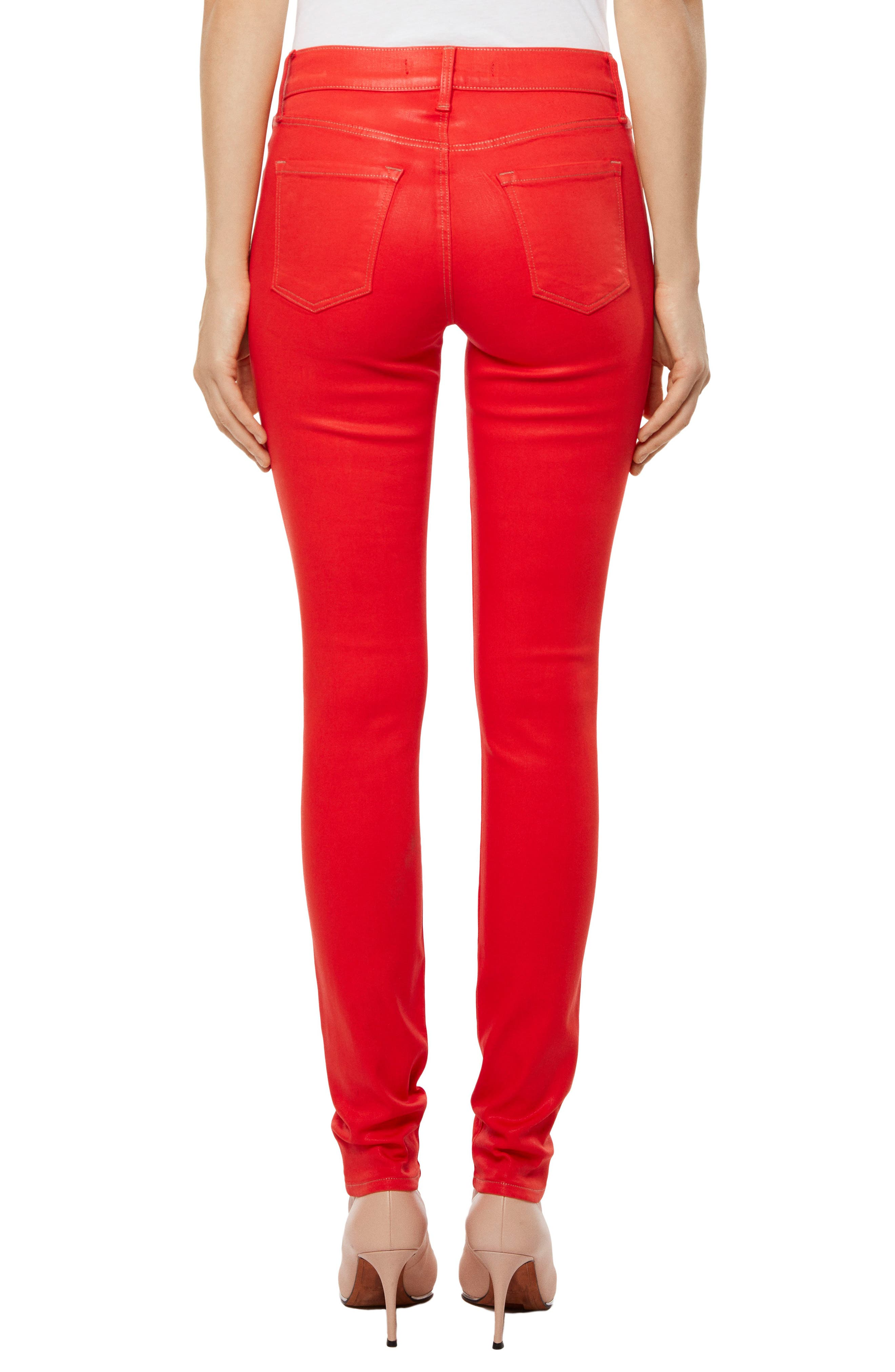 Super Skinny Jeans,                             Alternate thumbnail 2, color,                             Bright Coral Coated