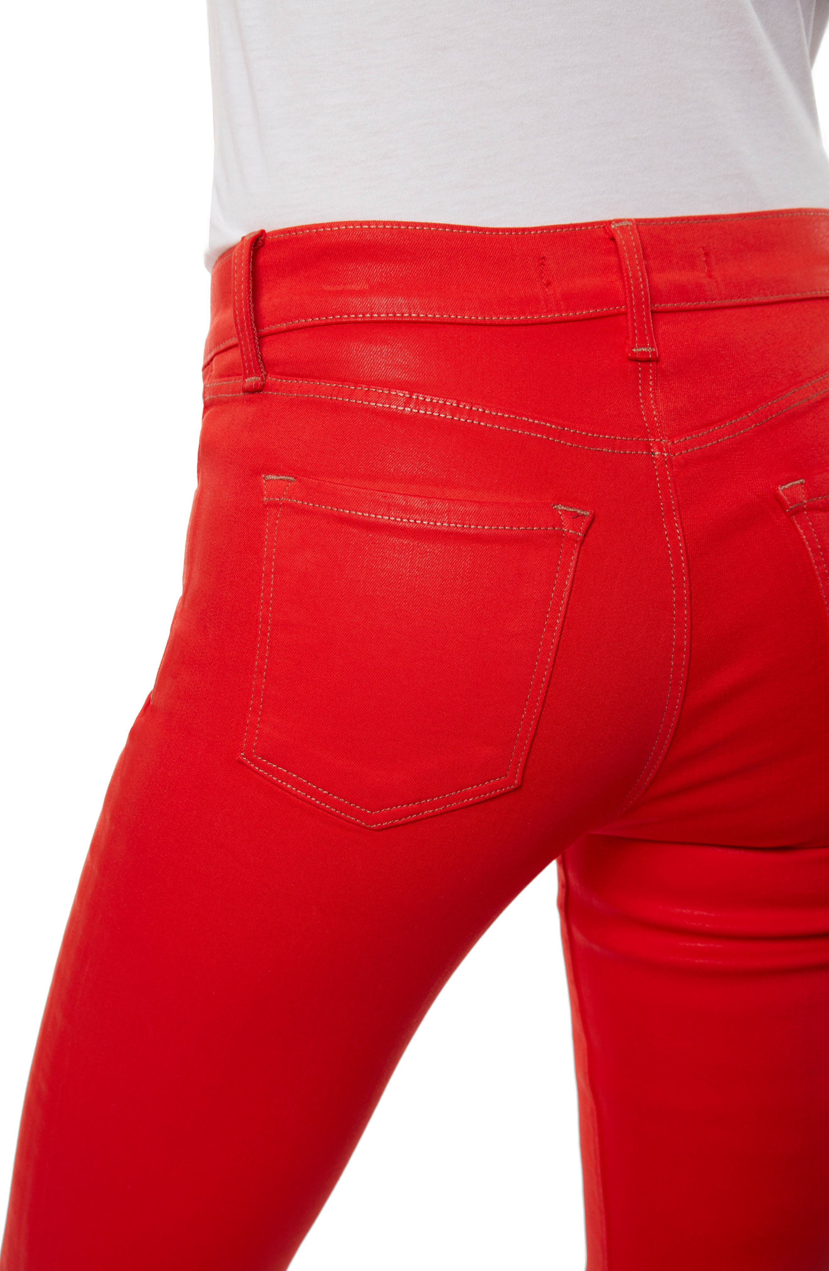 Super Skinny Jeans,                             Alternate thumbnail 4, color,                             Bright Coral Coated
