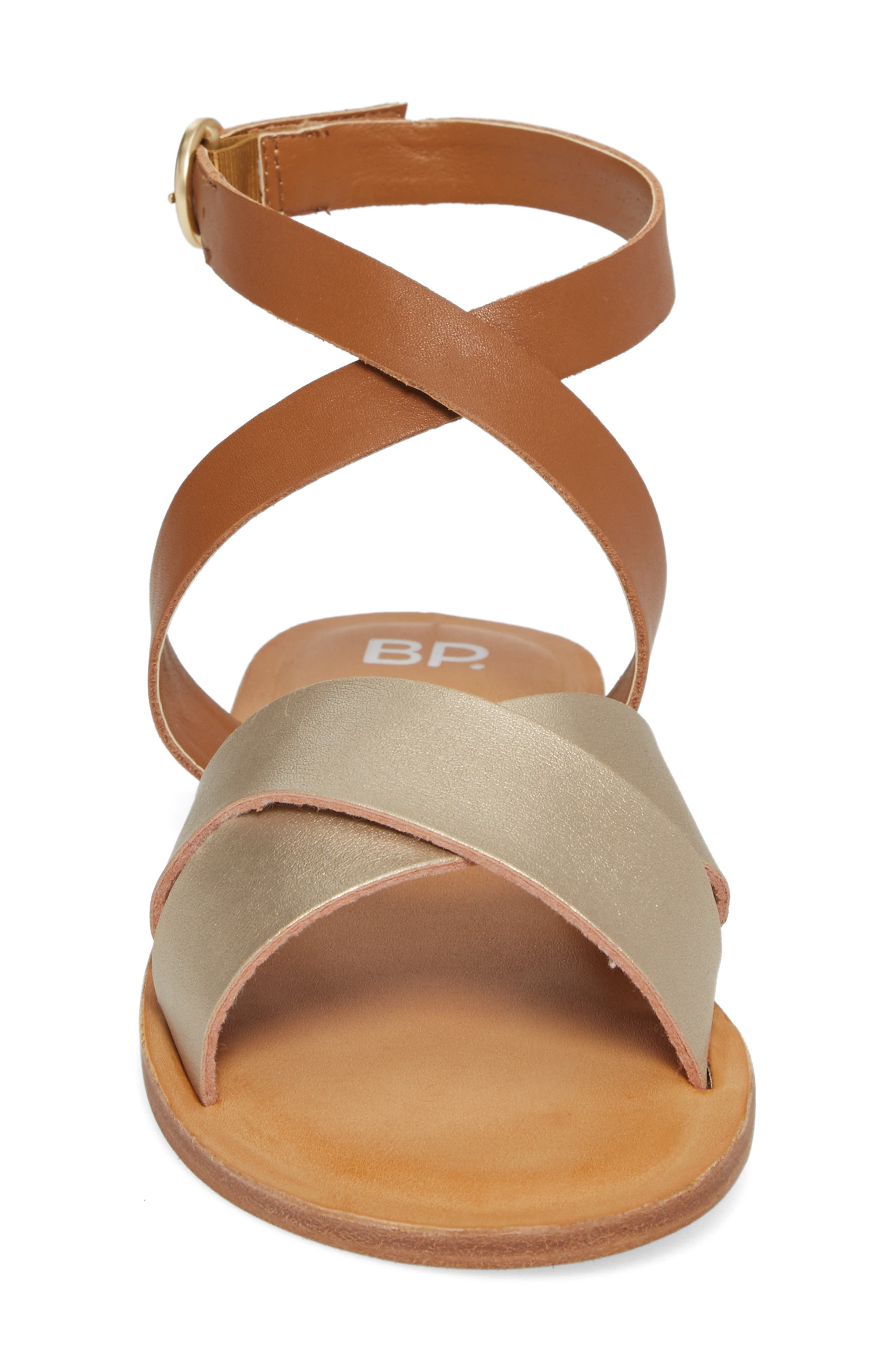 Reed Strappy Flat Sandal,                             Alternate thumbnail 4, color,                             Gold/Cognac