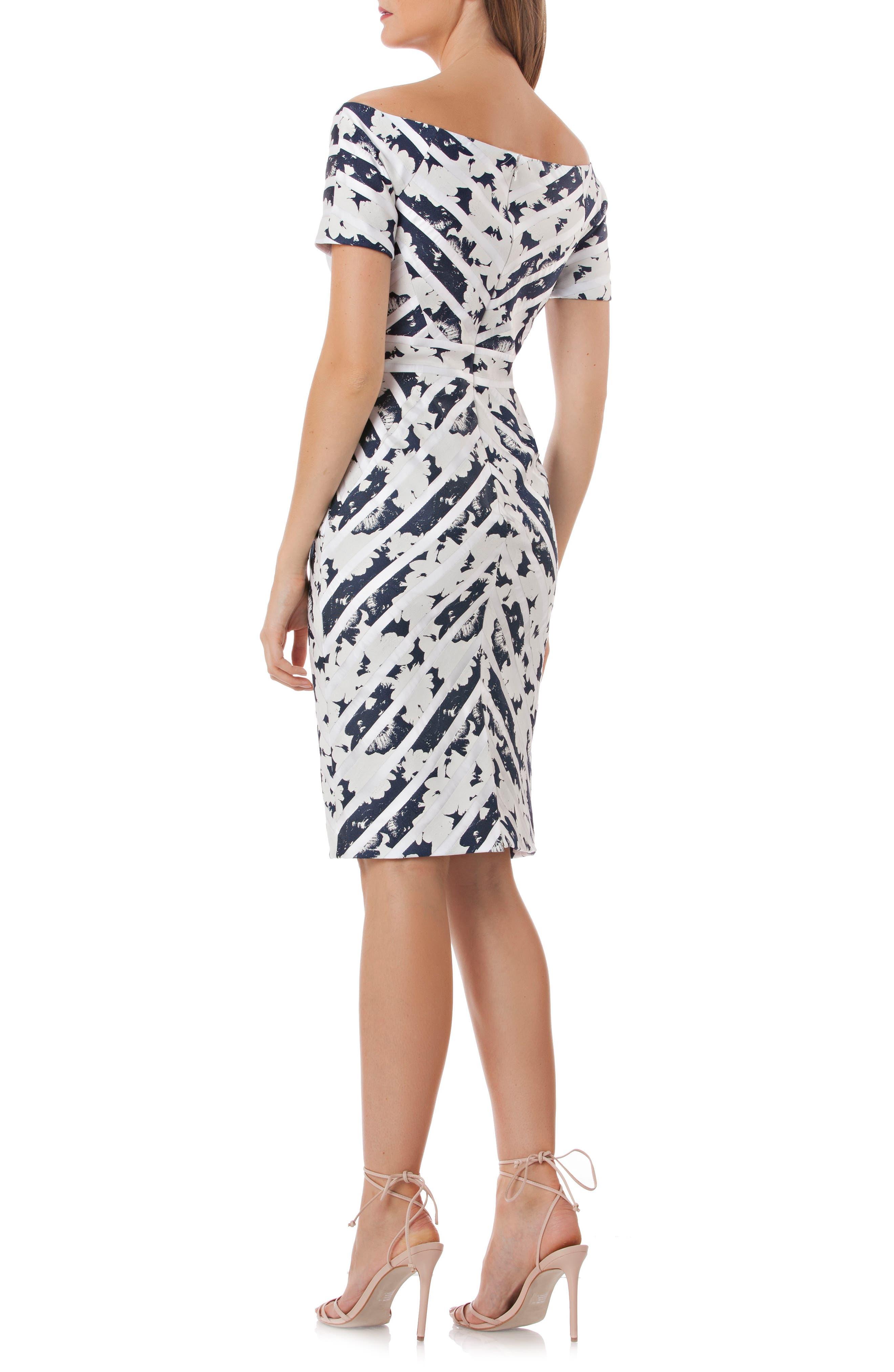 Off the Shoulder Jacquard Sheath Dress,                             Alternate thumbnail 2, color,                             Navy/ White