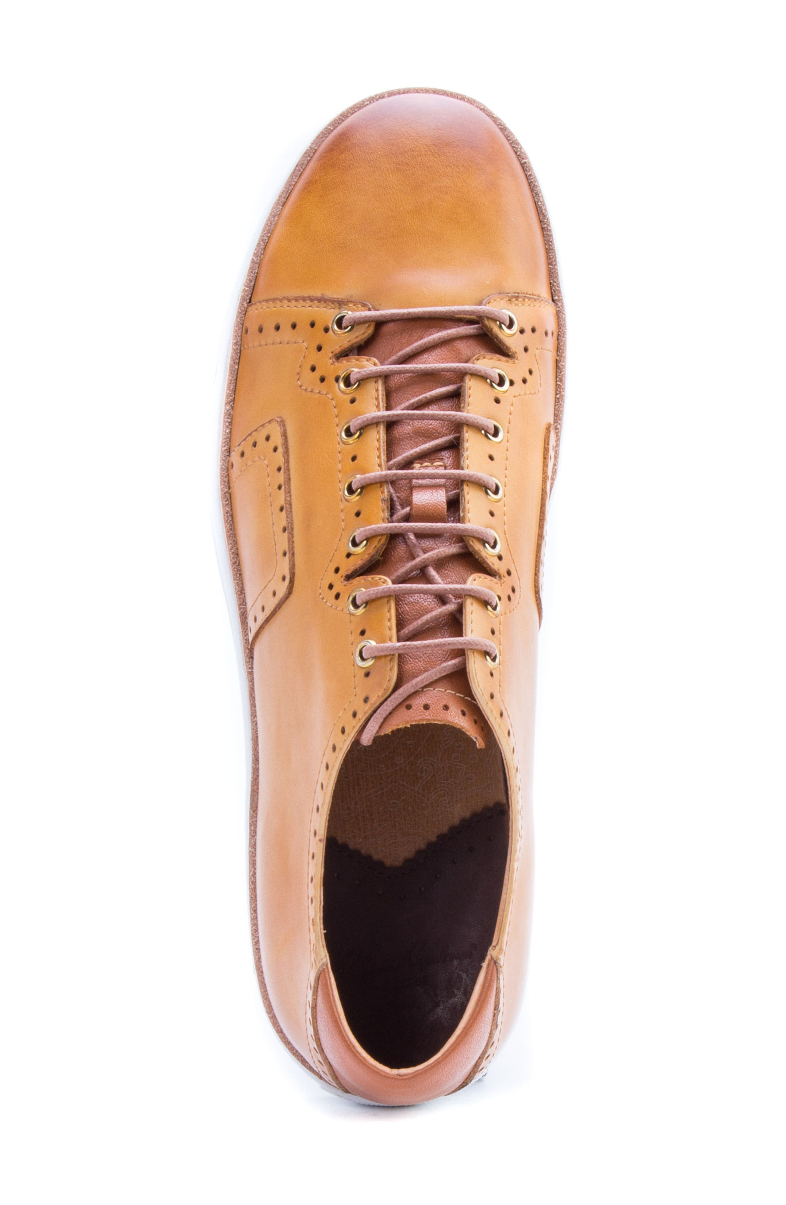 Marti Low Top Sneaker,                             Alternate thumbnail 5, color,                             Cognac Leather
