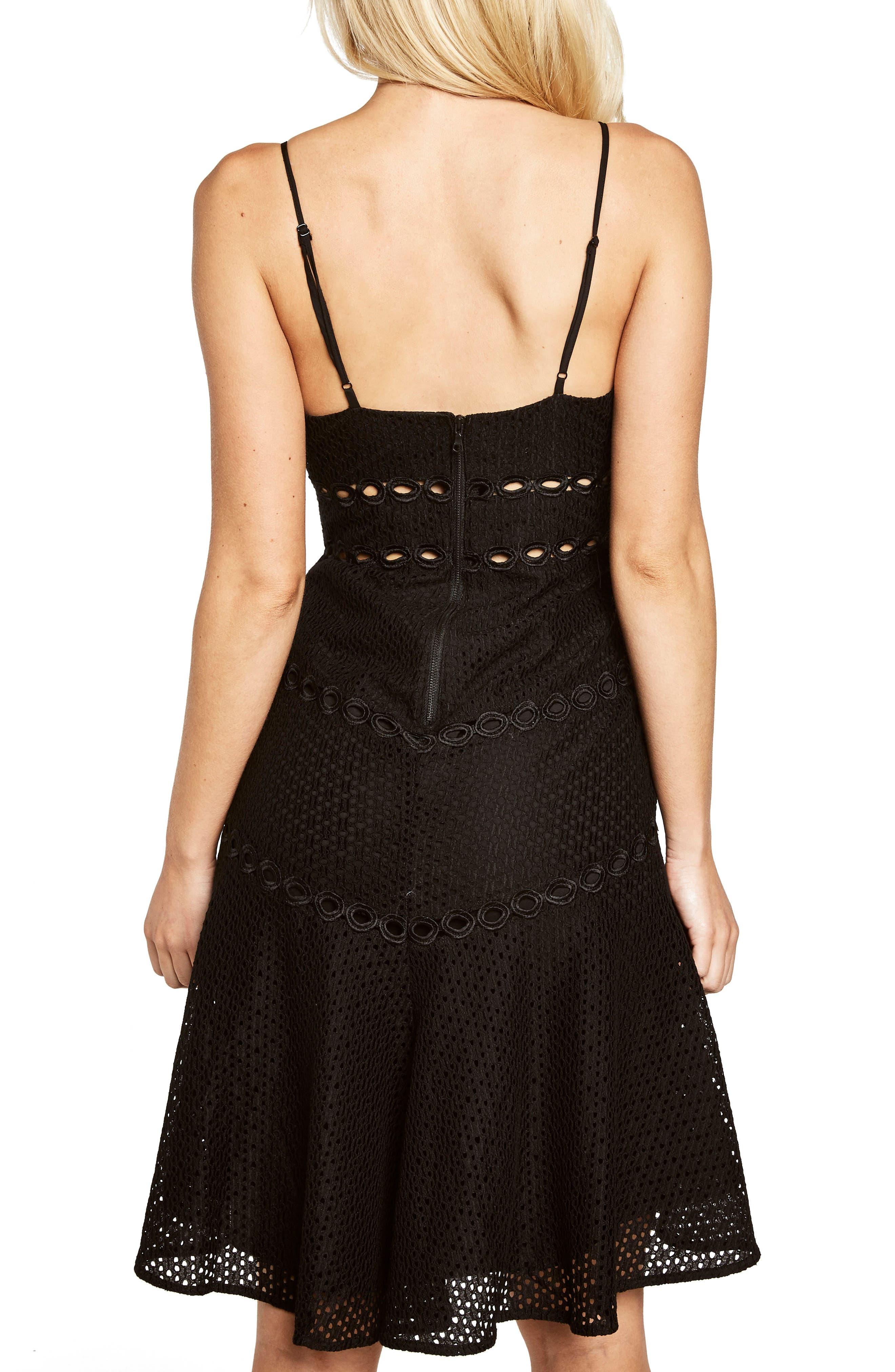 Ariana Fit & Flare Dress,                             Alternate thumbnail 2, color,                             Black