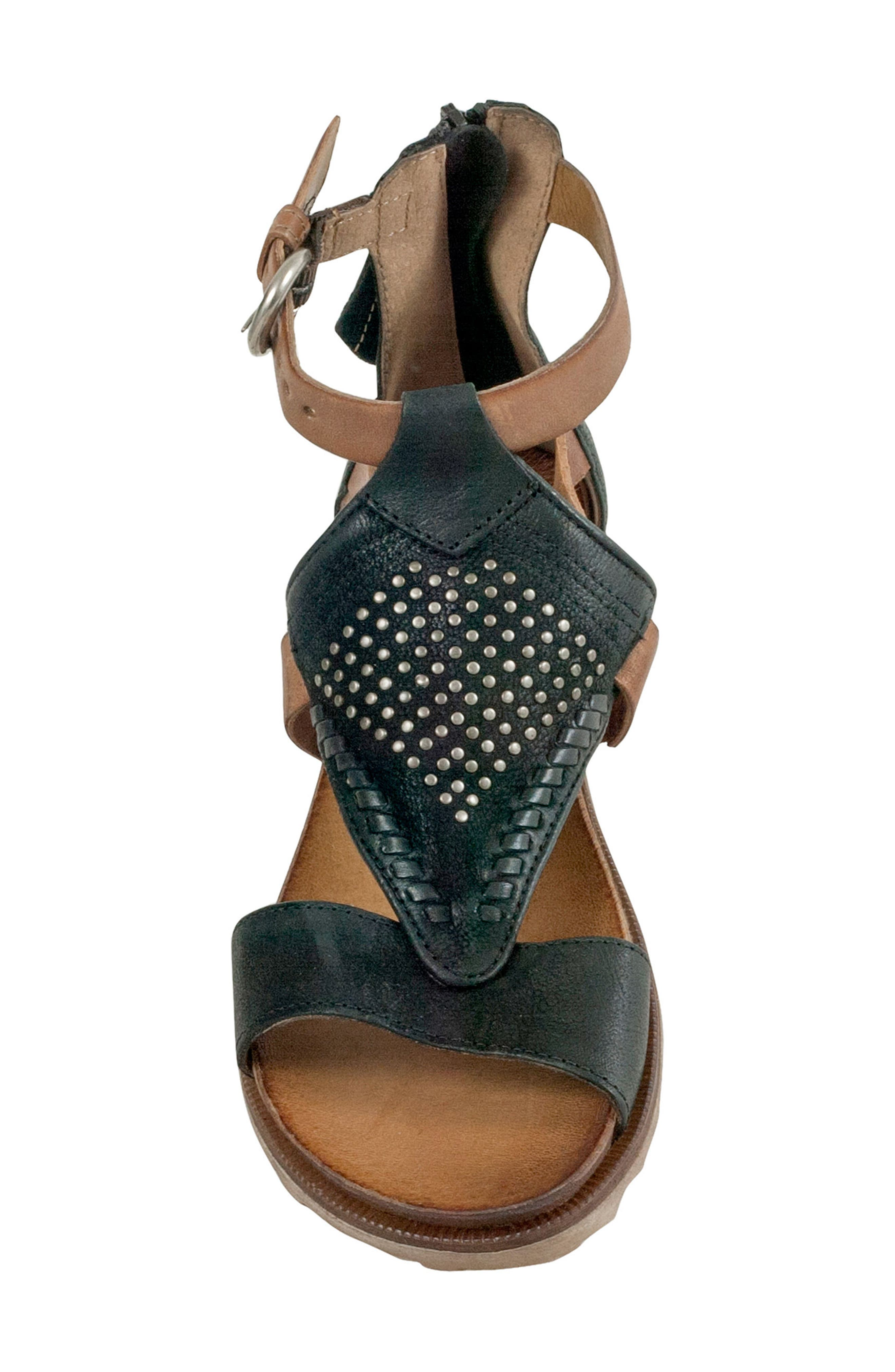 Tessa Studded Diamond Sandal,                             Alternate thumbnail 5, color,                             Black Leather