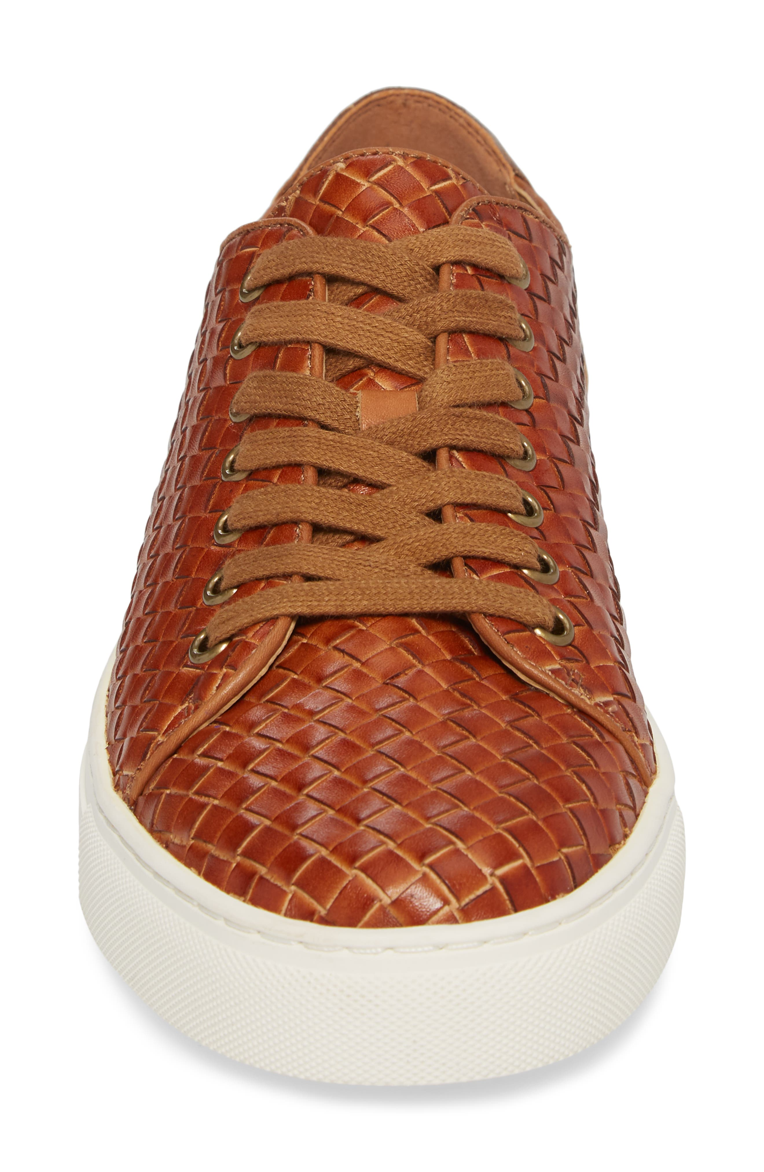 Alto Woven Low Top Sneaker,                             Alternate thumbnail 4, color,                             Saddle Leather